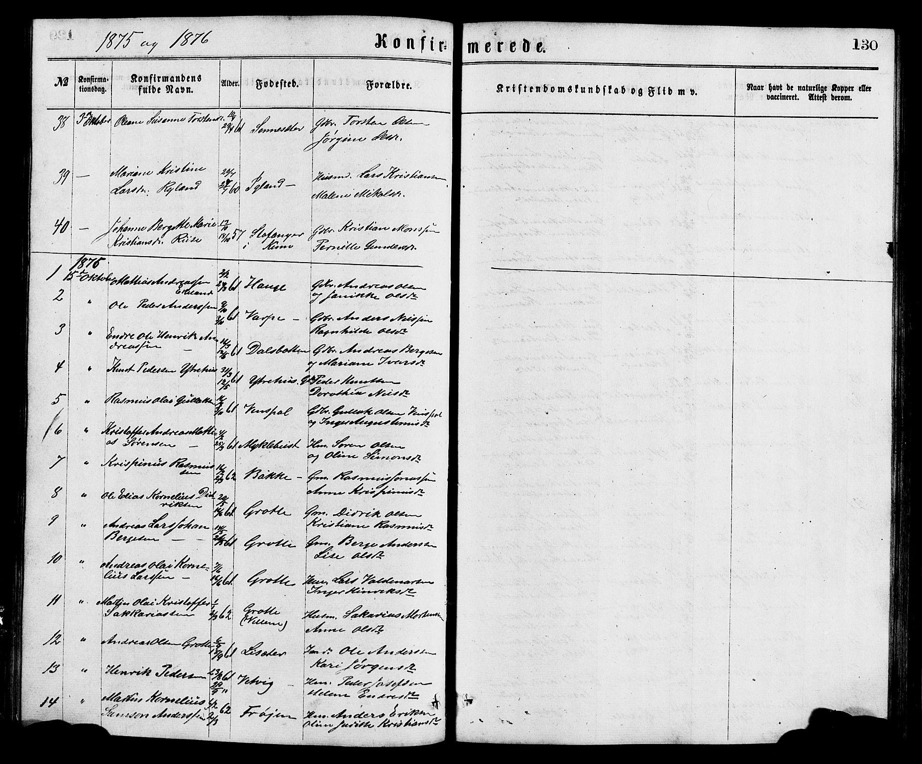 SAB, Bremanger Sokneprestembete, H/Hab: Klokkerbok nr. A 2, 1866-1889, s. 130