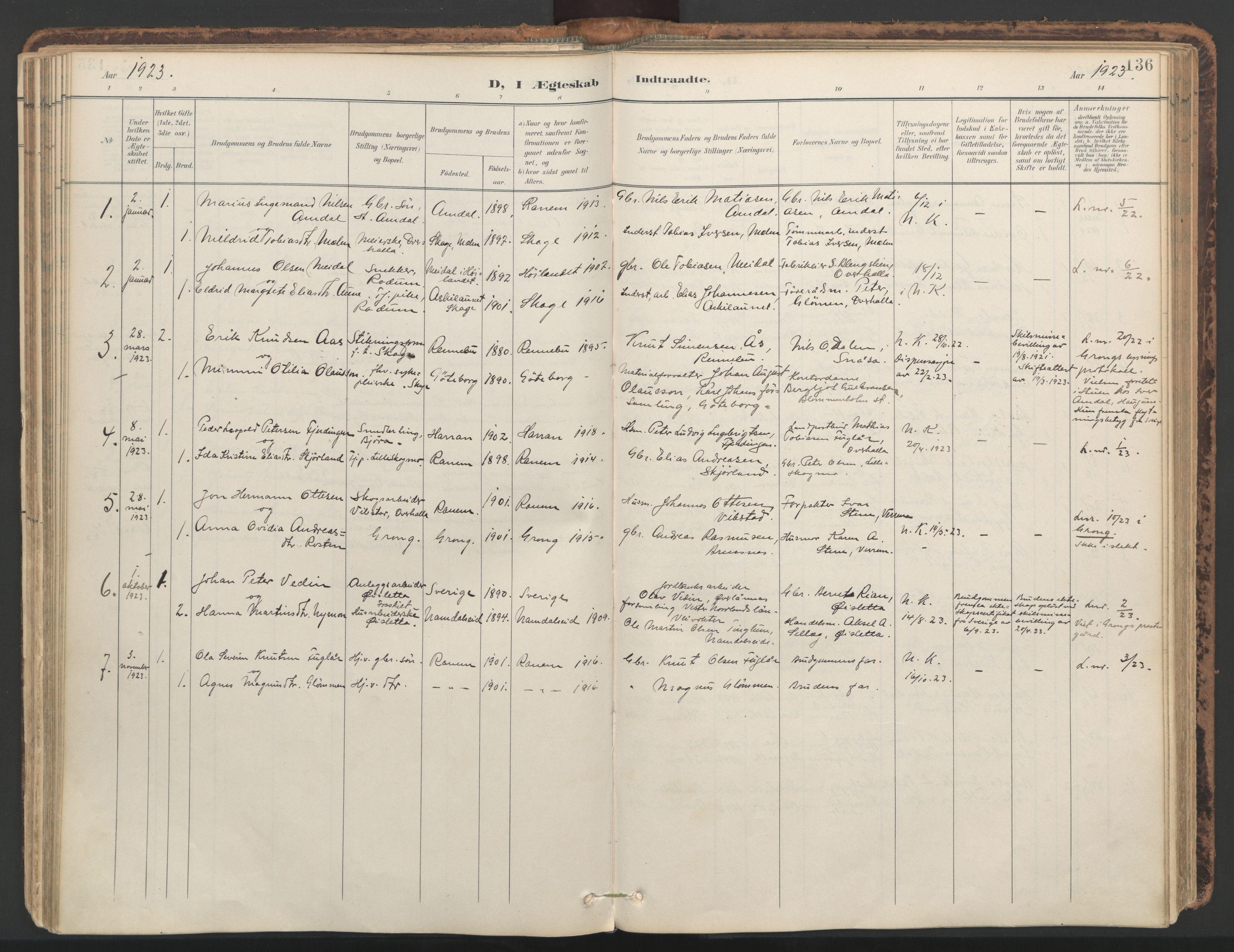 SAT, Ministerialprotokoller, klokkerbøker og fødselsregistre - Nord-Trøndelag, 764/L0556: Ministerialbok nr. 764A11, 1897-1924, s. 136