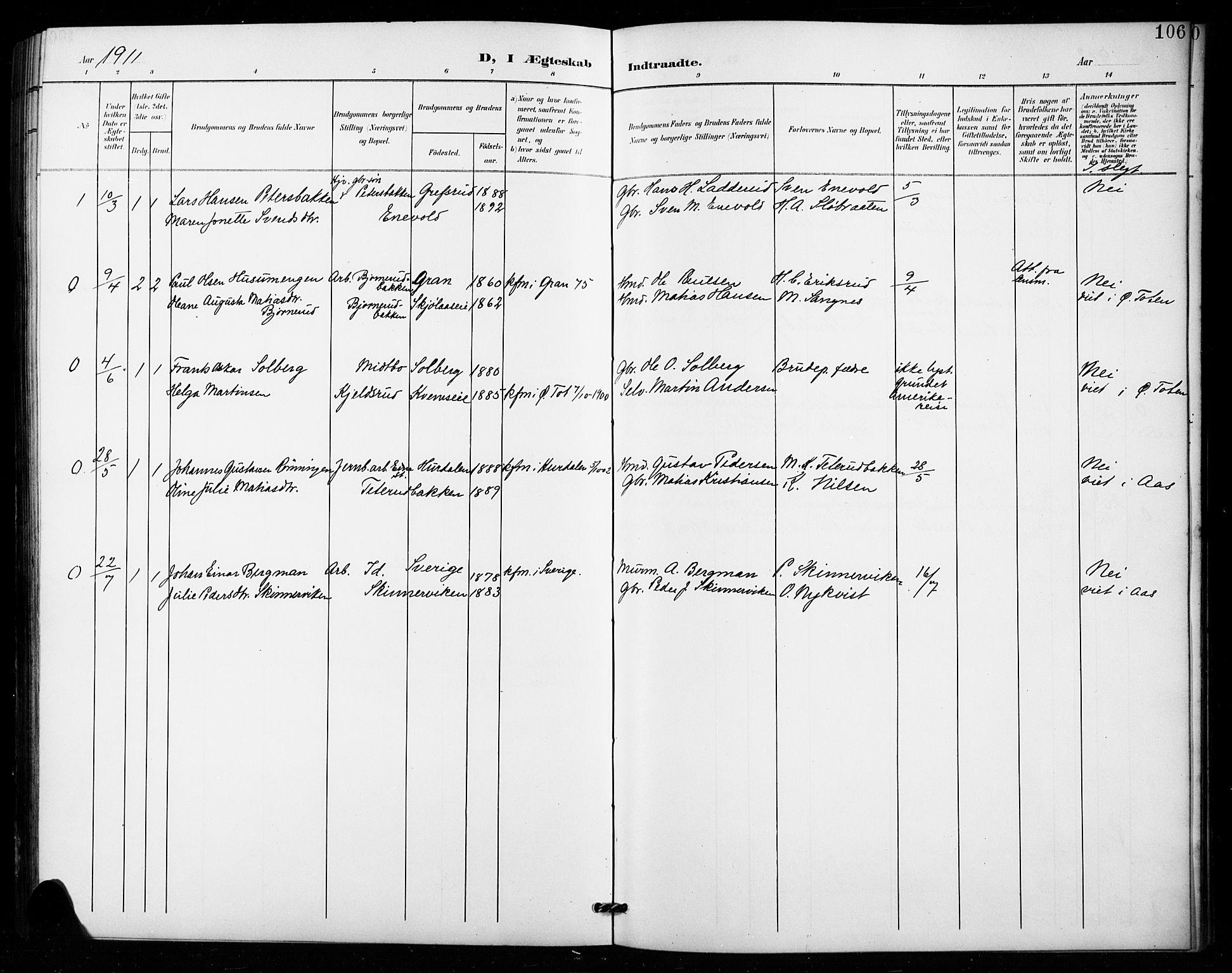 SAH, Vestre Toten prestekontor, H/Ha/Hab/L0016: Klokkerbok nr. 16, 1901-1915, s. 106