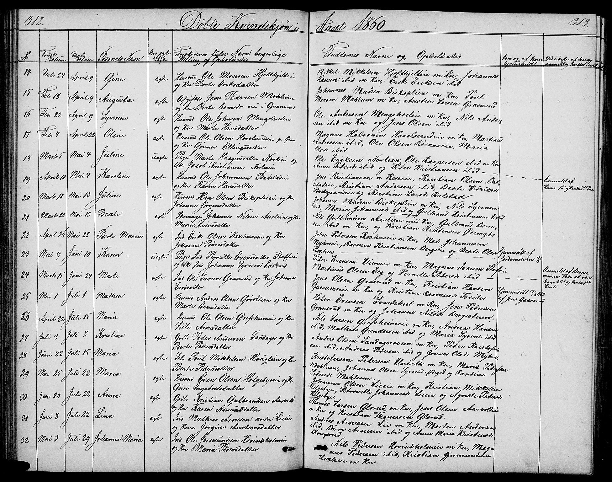 SAH, Nes prestekontor, L/La/L0005: Klokkerbok nr. 5, 1852-1889, s. 312-313