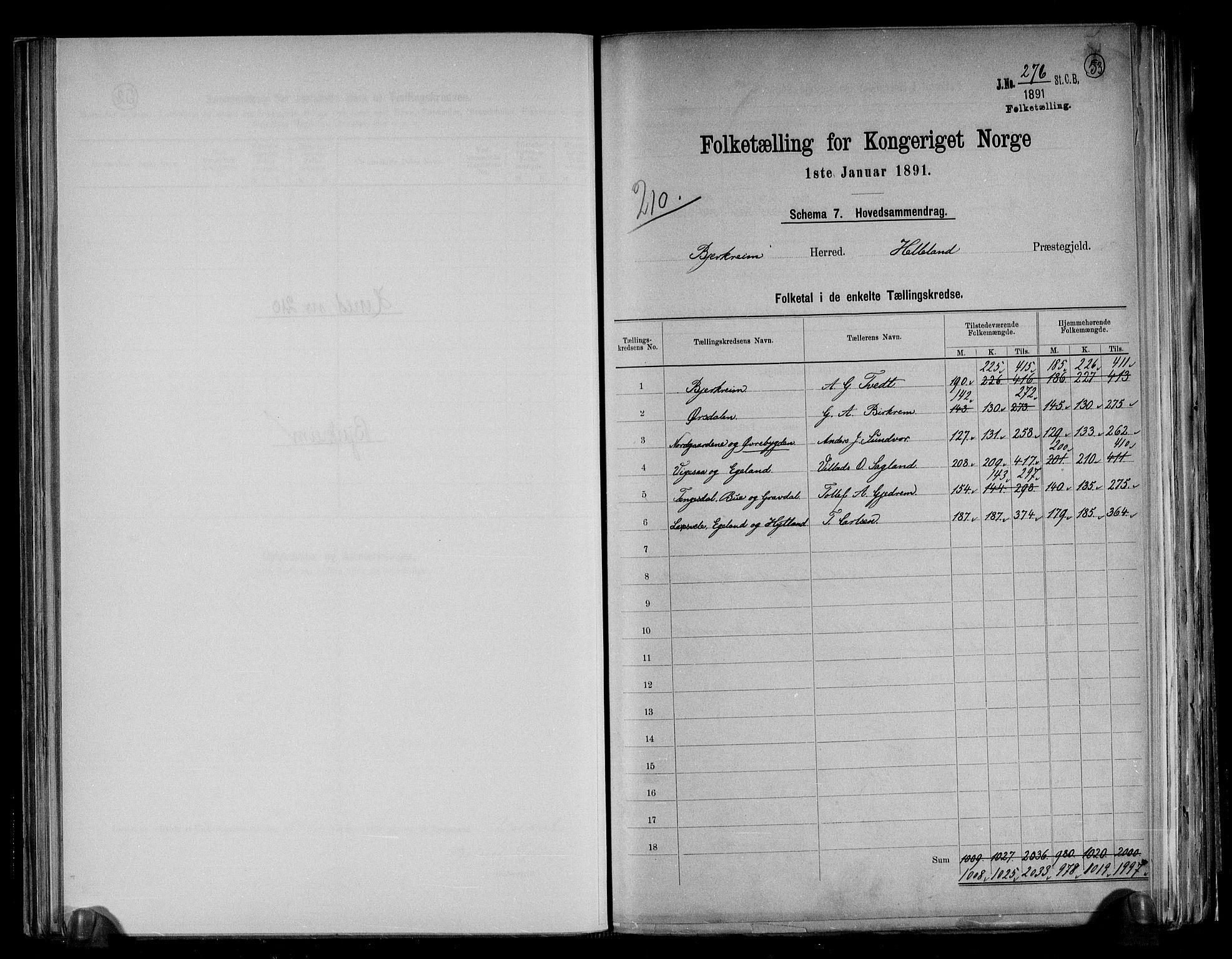 RA, Folketelling 1891 for 1114 Bjerkreim herred, 1891, s. 2