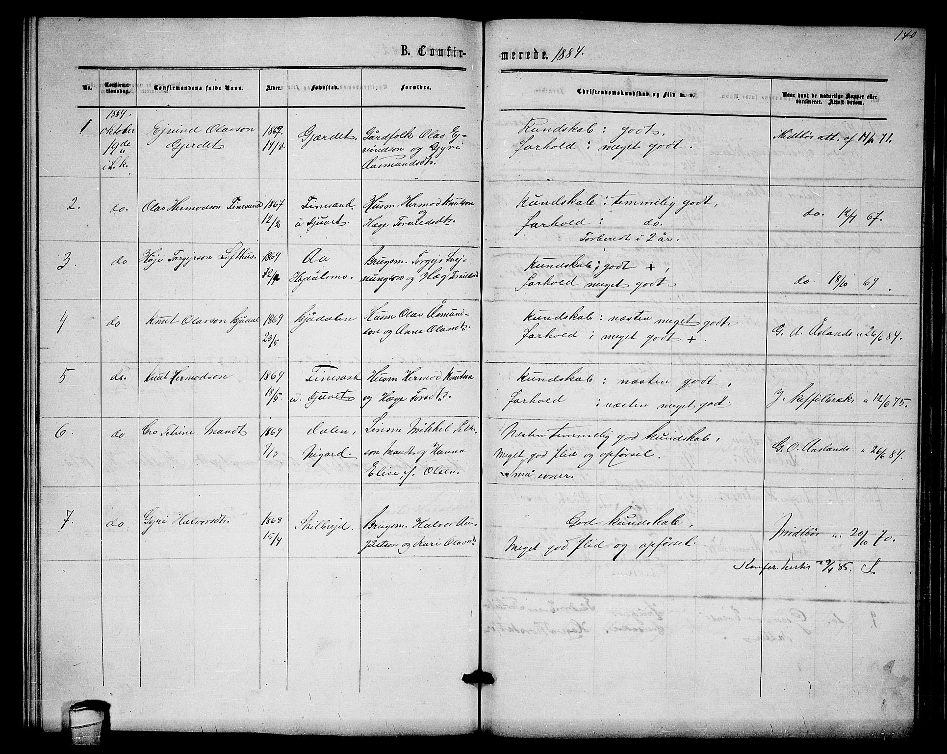 SAKO, Lårdal kirkebøker, G/Gb/L0002: Klokkerbok nr. II 2, 1865-1888, s. 140