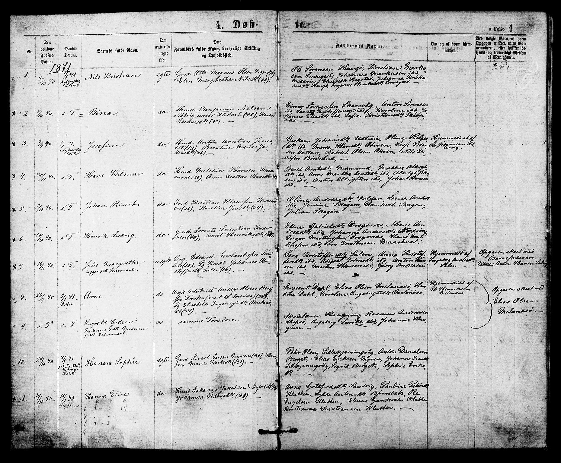 SAT, Ministerialprotokoller, klokkerbøker og fødselsregistre - Sør-Trøndelag, 634/L0532: Ministerialbok nr. 634A08, 1871-1881, s. 1