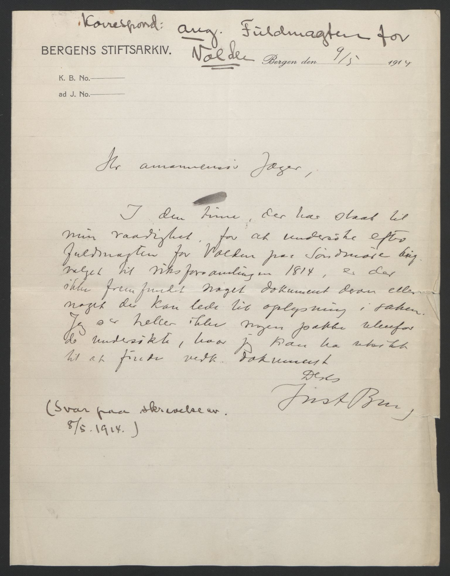 RA, Statsrådssekretariatet, D/Db/L0008: Fullmakter for Eidsvollsrepresentantene i 1814. , 1814, s. 418