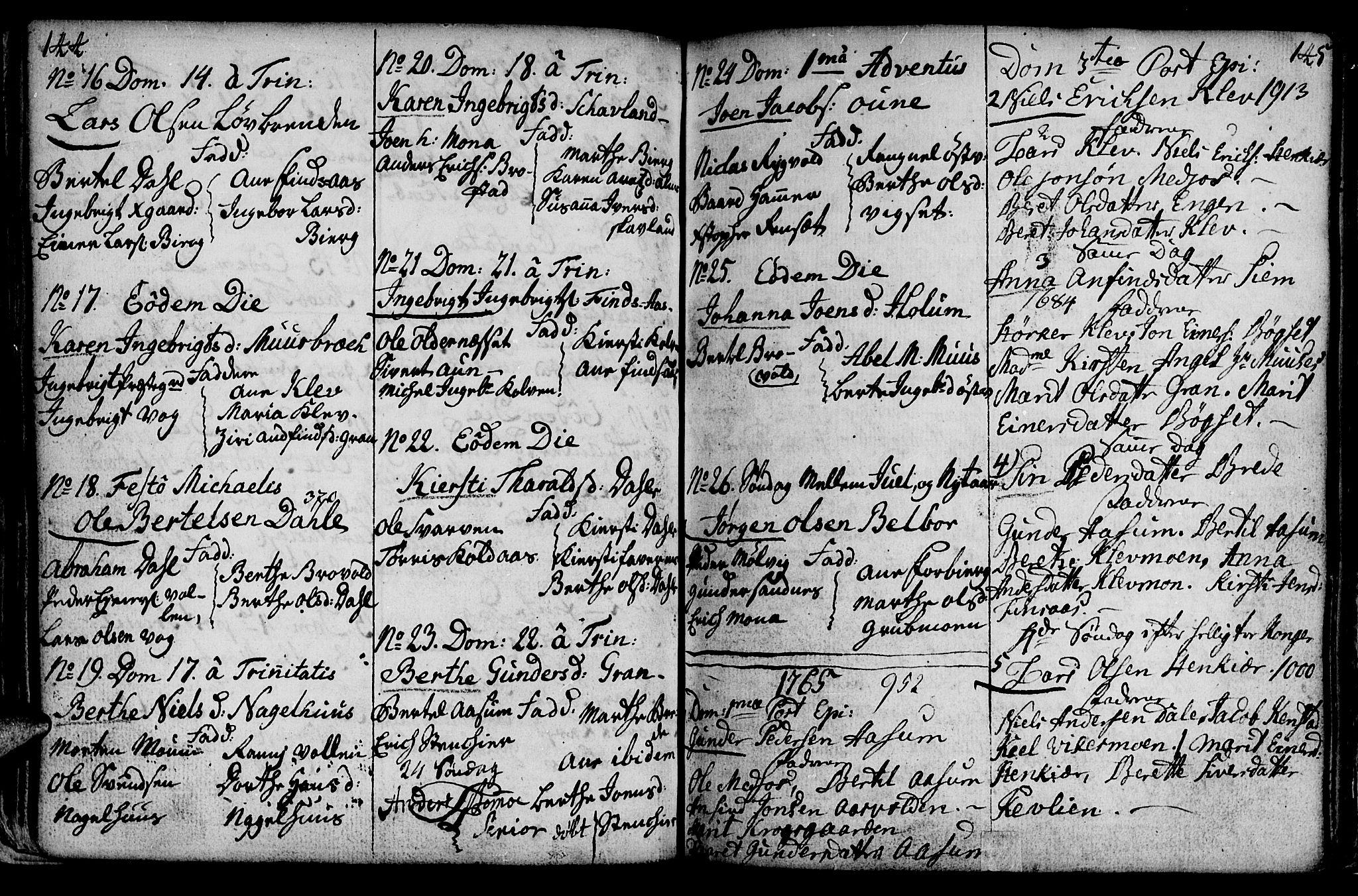 SAT, Ministerialprotokoller, klokkerbøker og fødselsregistre - Nord-Trøndelag, 749/L0467: Ministerialbok nr. 749A01, 1733-1787, s. 144-145