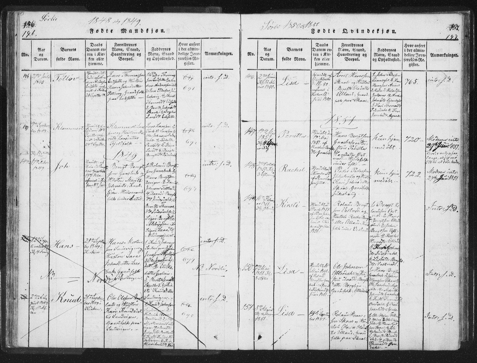 SAT, Ministerialprotokoller, klokkerbøker og fødselsregistre - Nord-Trøndelag, 755/L0491: Ministerialbok nr. 755A01 /2, 1817-1864, s. 146-147