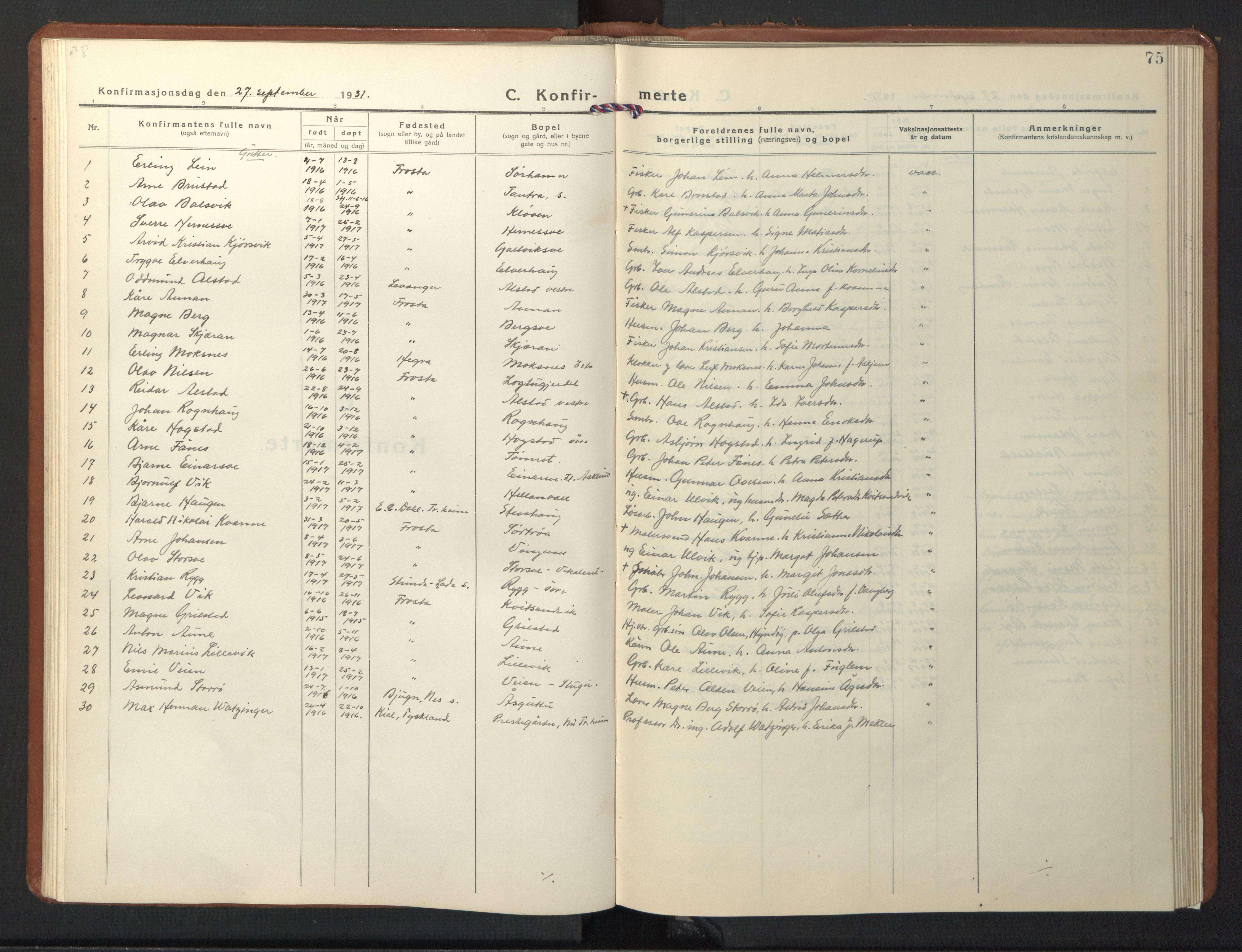 SAT, Ministerialprotokoller, klokkerbøker og fødselsregistre - Nord-Trøndelag, 713/L0125: Klokkerbok nr. 713C02, 1931-1941, s. 75