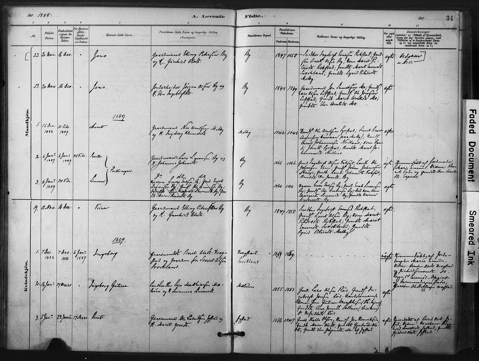 SAT, Ministerialprotokoller, klokkerbøker og fødselsregistre - Sør-Trøndelag, 667/L0795: Ministerialbok nr. 667A03, 1879-1907, s. 34