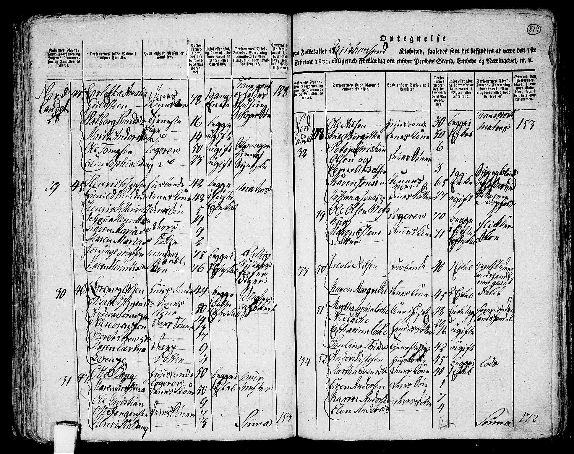 RA, Folketelling 1801 for 1553P Kvernes prestegjeld, 1801, s. 818b-819a