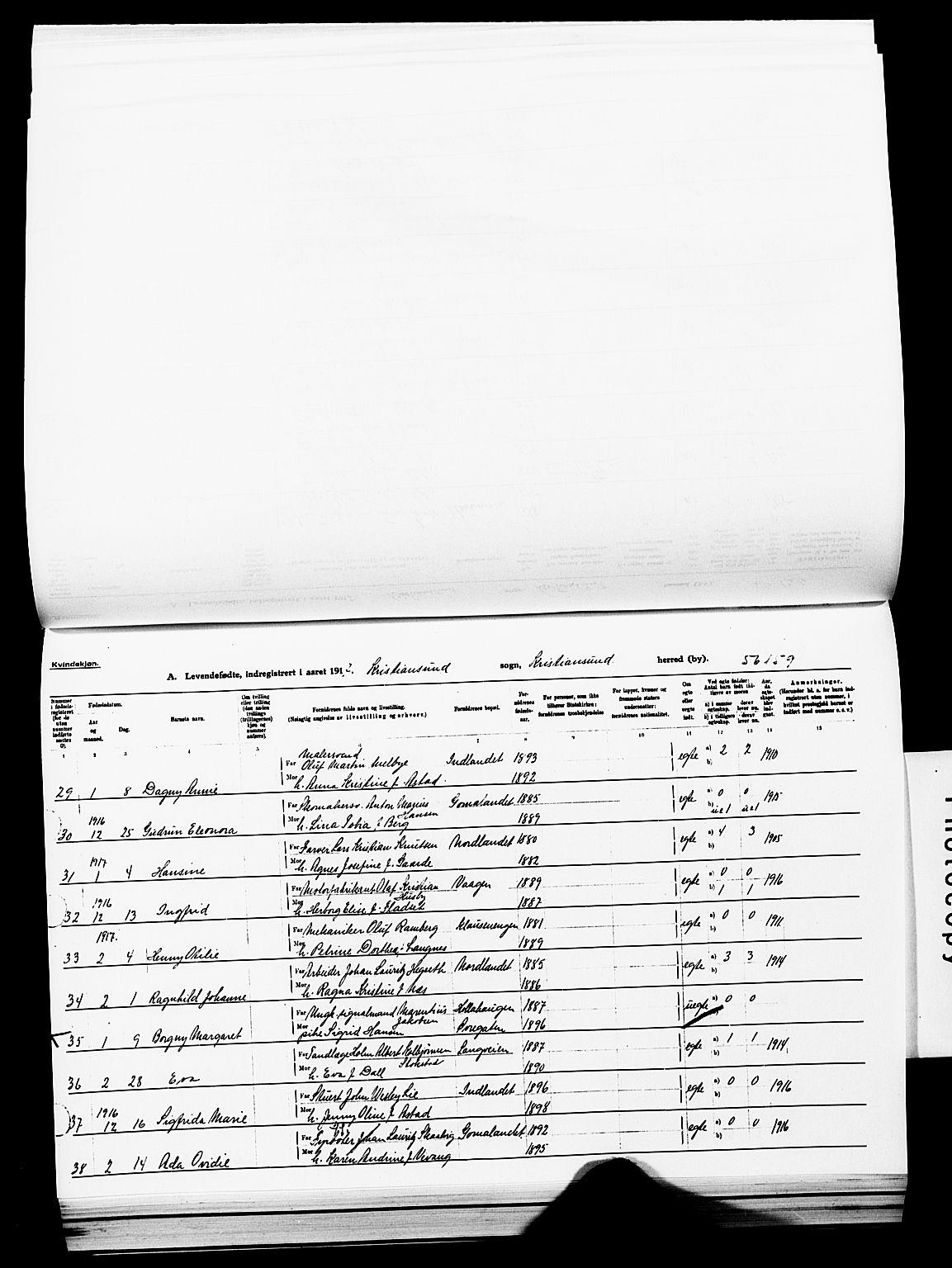 SAT, Ministerialprotokoller, klokkerbøker og fødselsregistre - Møre og Romsdal, 572/L0861: Ministerialbok nr. 572D05, 1913-1920