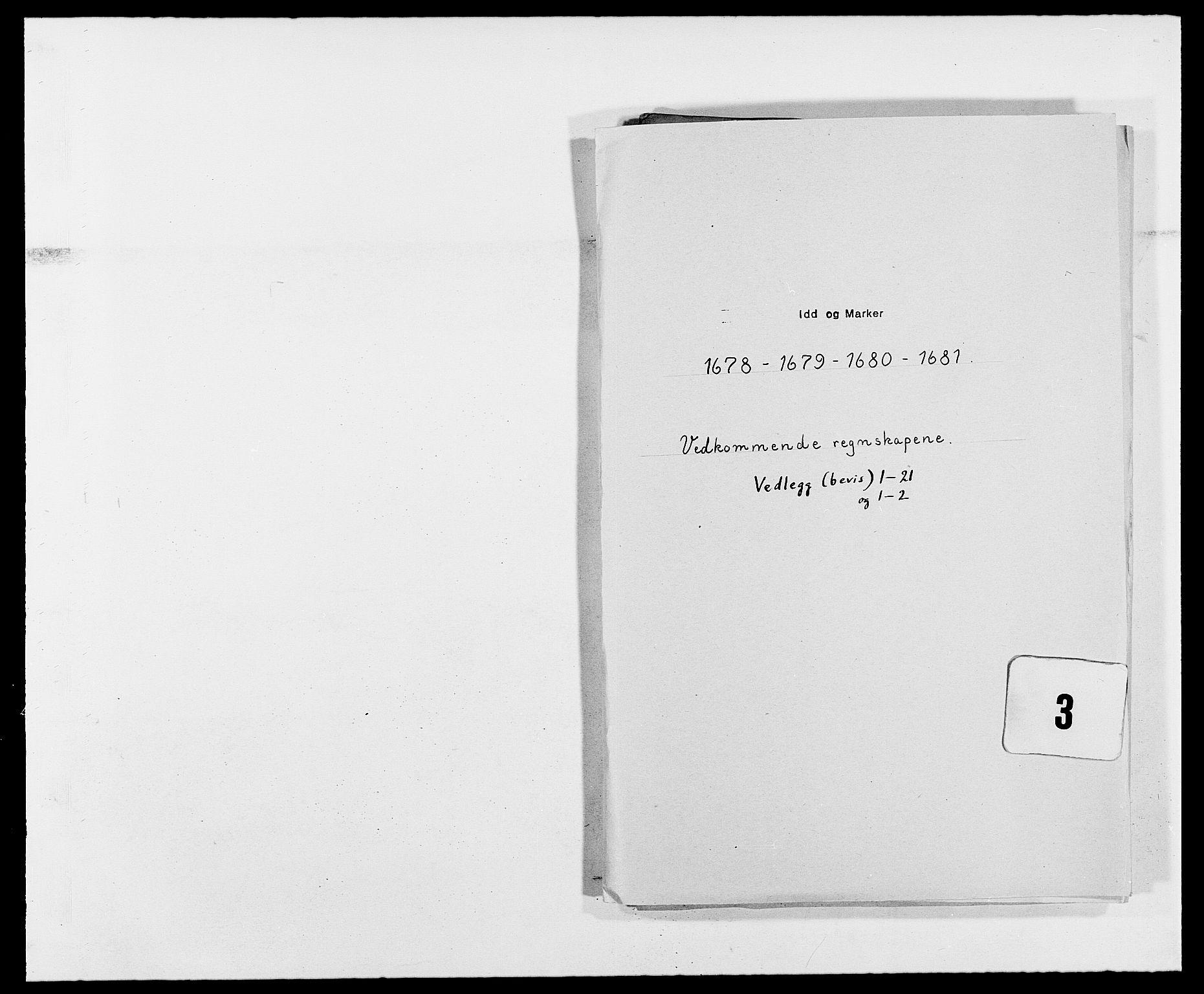 RA, Rentekammeret inntil 1814, Reviderte regnskaper, Fogderegnskap, R01/L0003: Fogderegnskap Idd og Marker, 1678-1681, s. 188