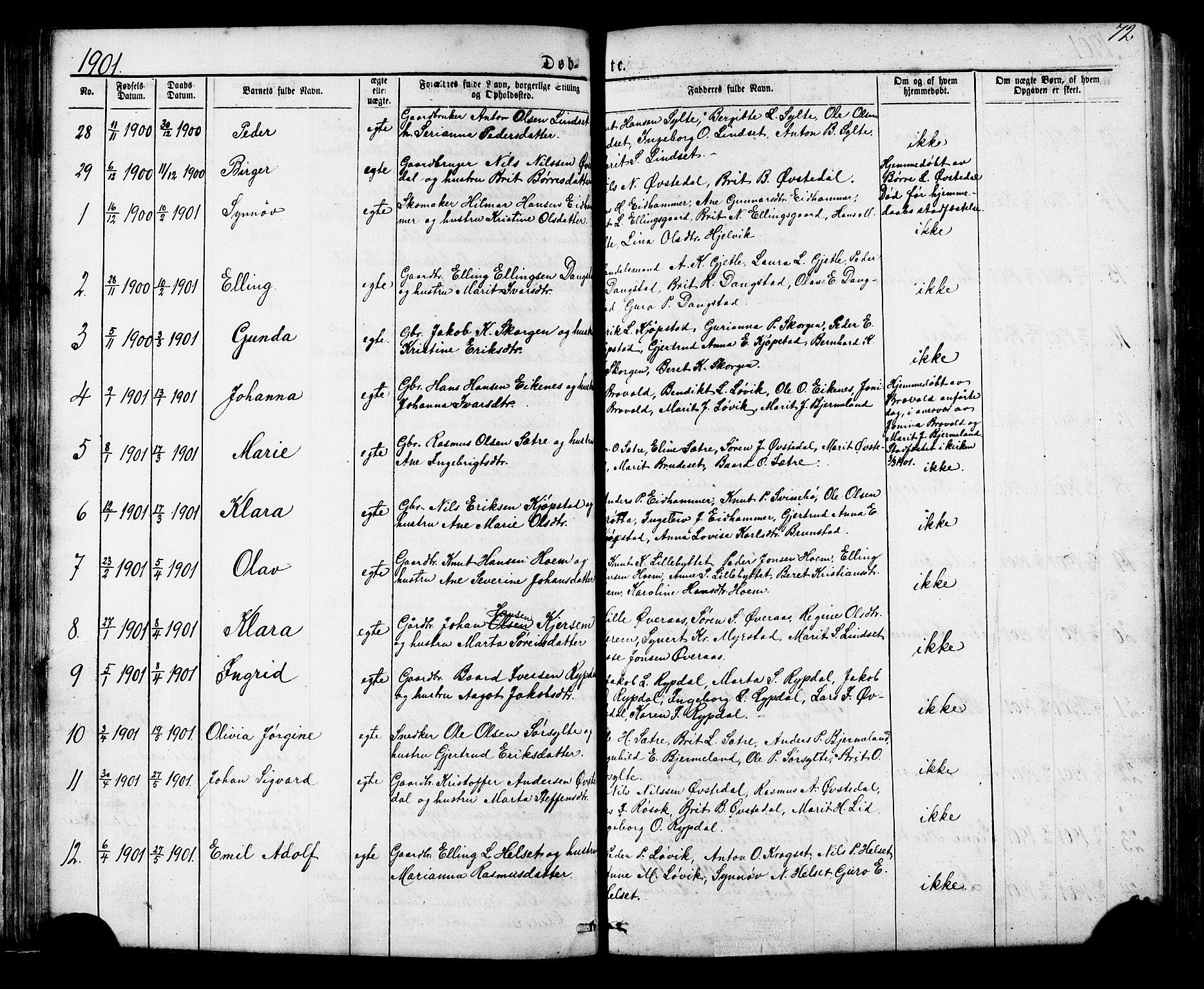 SAT, Ministerialprotokoller, klokkerbøker og fødselsregistre - Møre og Romsdal, 541/L0547: Klokkerbok nr. 541C02, 1867-1921, s. 72