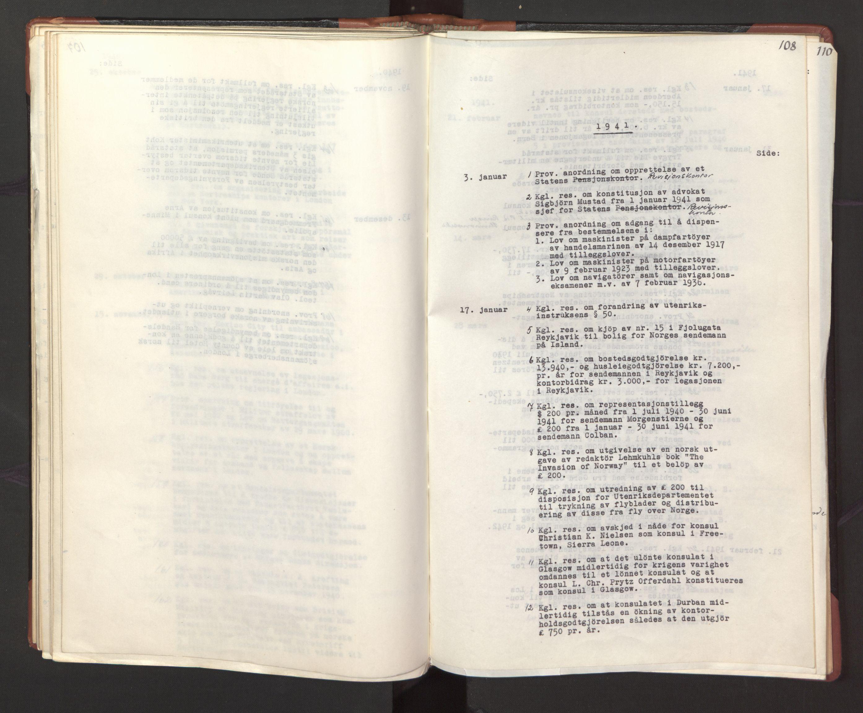 RA, Statsrådssekretariatet, A/Ac/L0127: Register 9/4-25/5, 1940-1945, s. 108