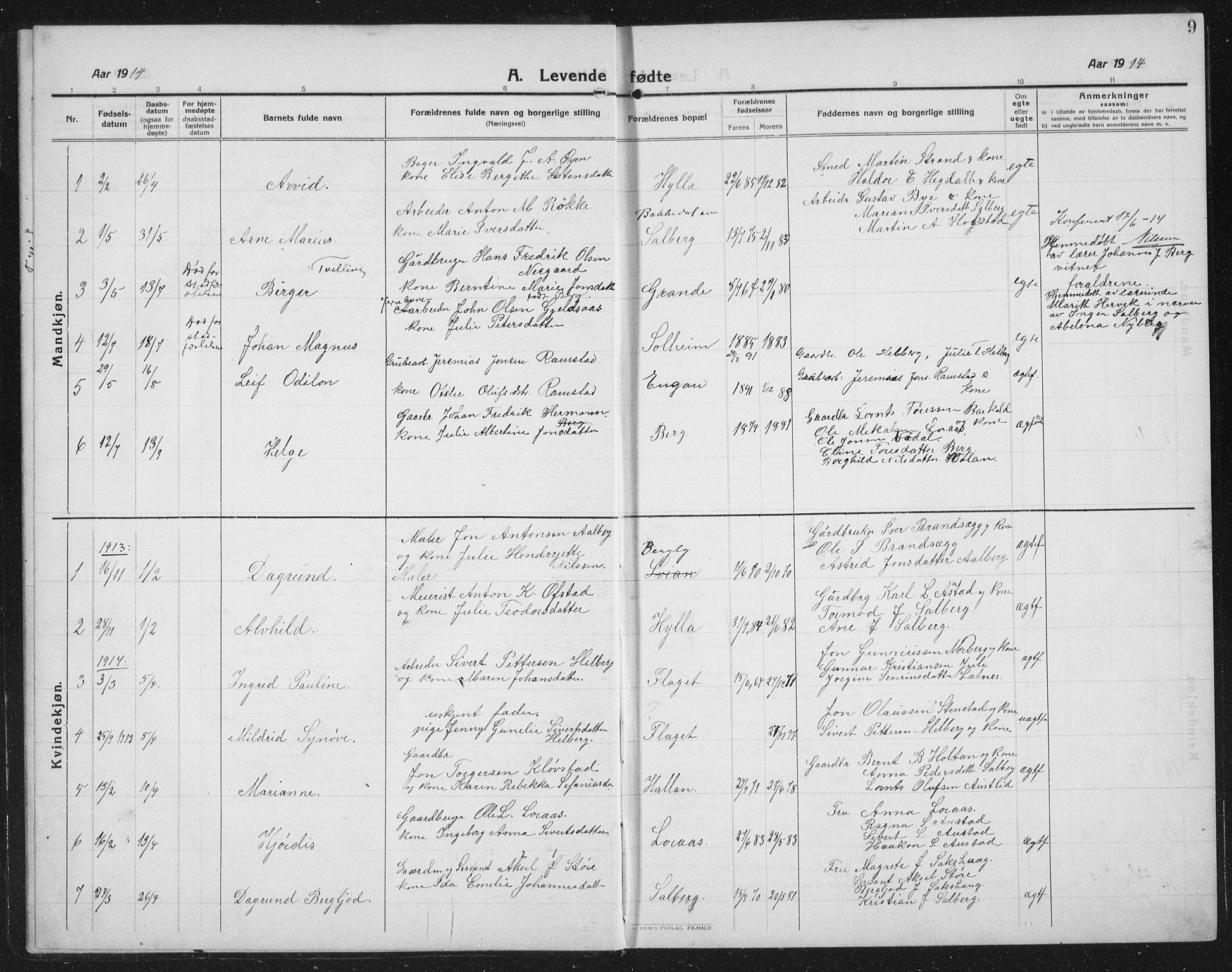 SAT, Ministerialprotokoller, klokkerbøker og fødselsregistre - Nord-Trøndelag, 731/L0312: Klokkerbok nr. 731C03, 1911-1935, s. 9