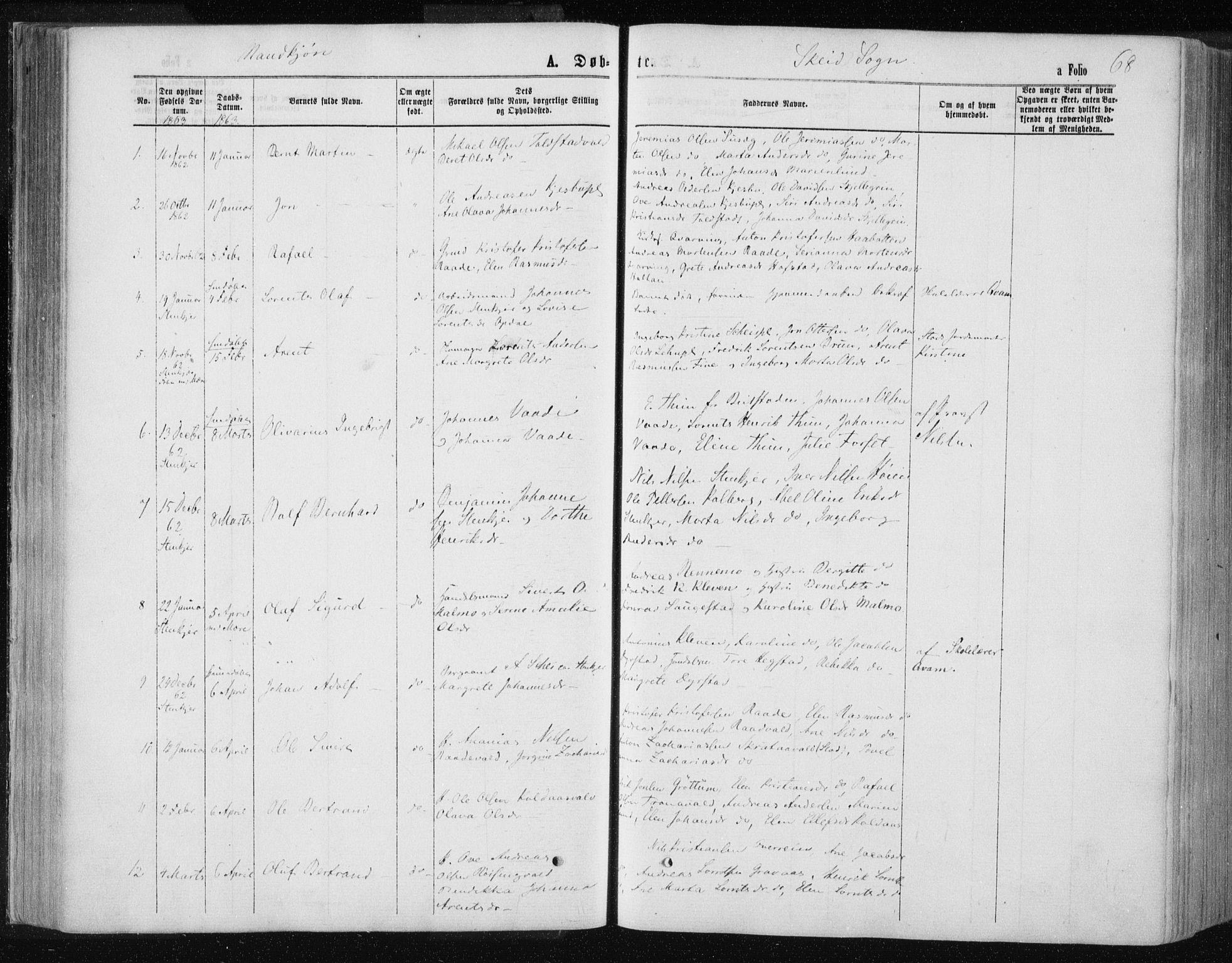 SAT, Ministerialprotokoller, klokkerbøker og fødselsregistre - Nord-Trøndelag, 735/L0345: Ministerialbok nr. 735A08 /2, 1863-1872, s. 68