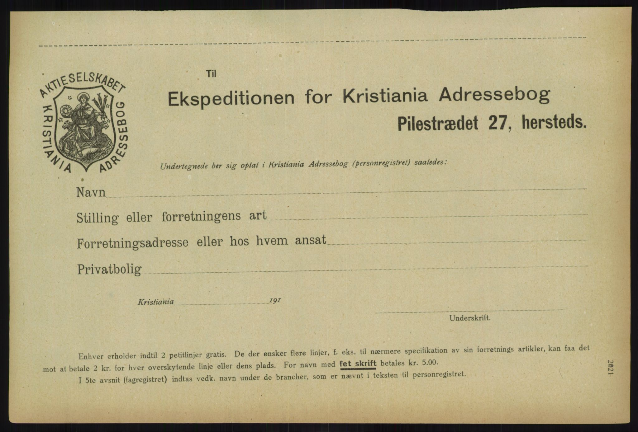 RA, Kristiania adressebok (publikasjon)*, 1918, s. 2021