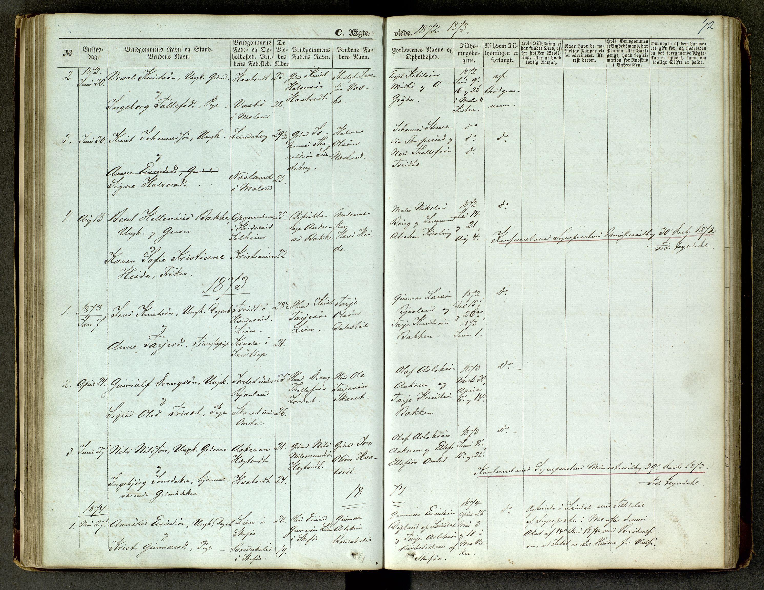 SAKO, Lårdal kirkebøker, G/Ga/L0002: Klokkerbok nr. I 2, 1861-1890, s. 72