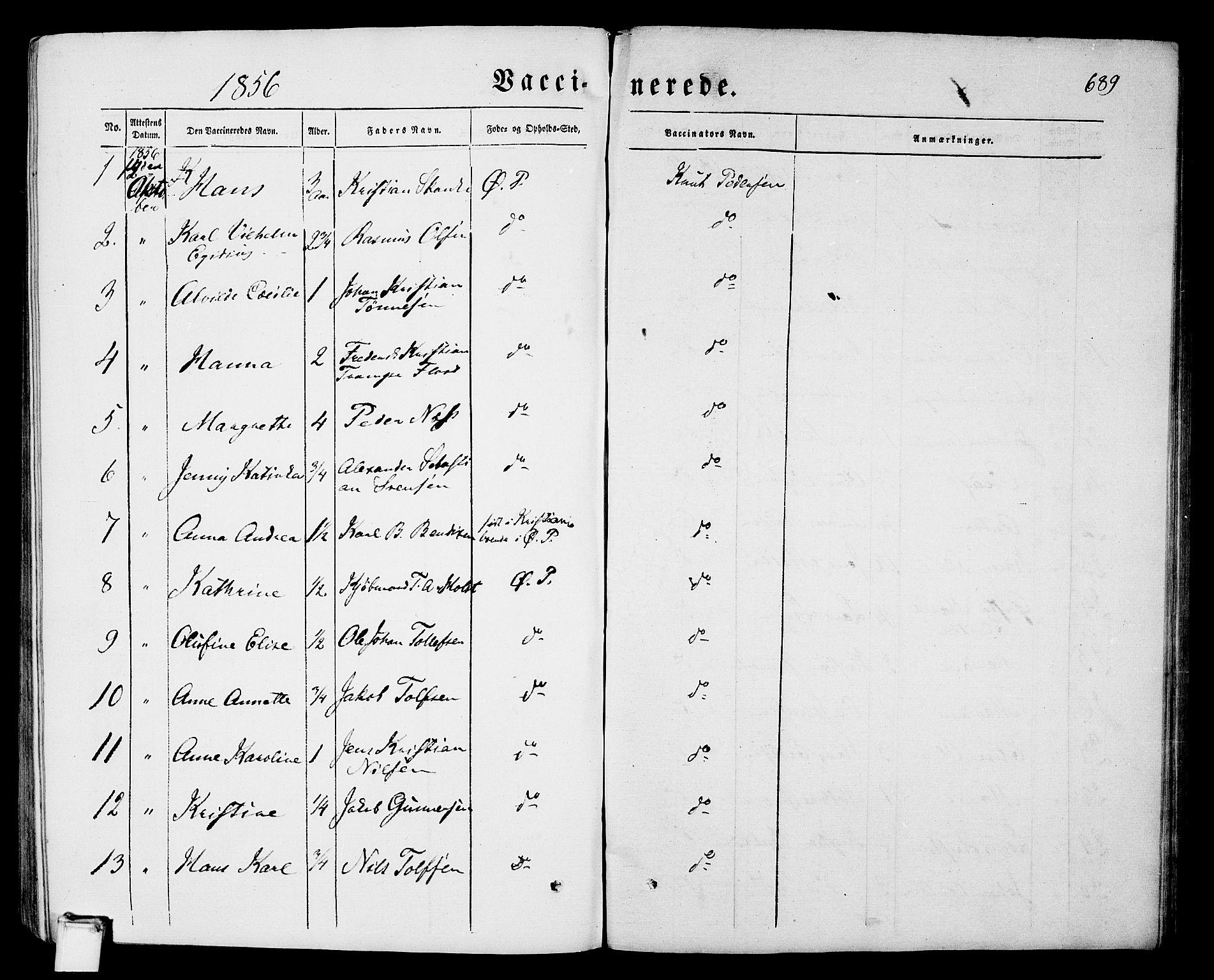 SAKO, Porsgrunn kirkebøker , G/Gb/L0004: Klokkerbok nr. II 4, 1853-1882, s. 689