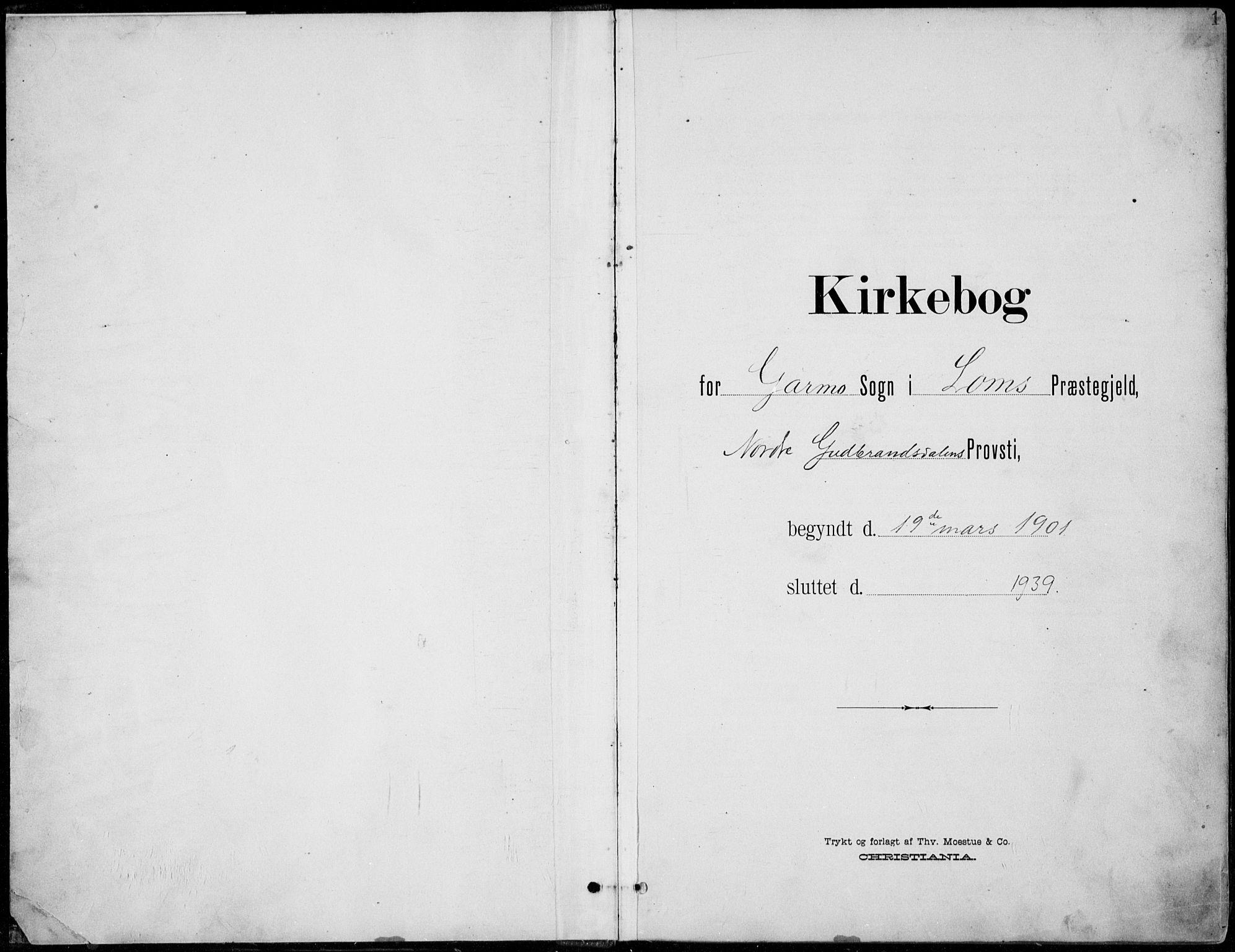 SAH, Lom prestekontor, L/L0006: Klokkerbok nr. 6, 1901-1939, s. 1
