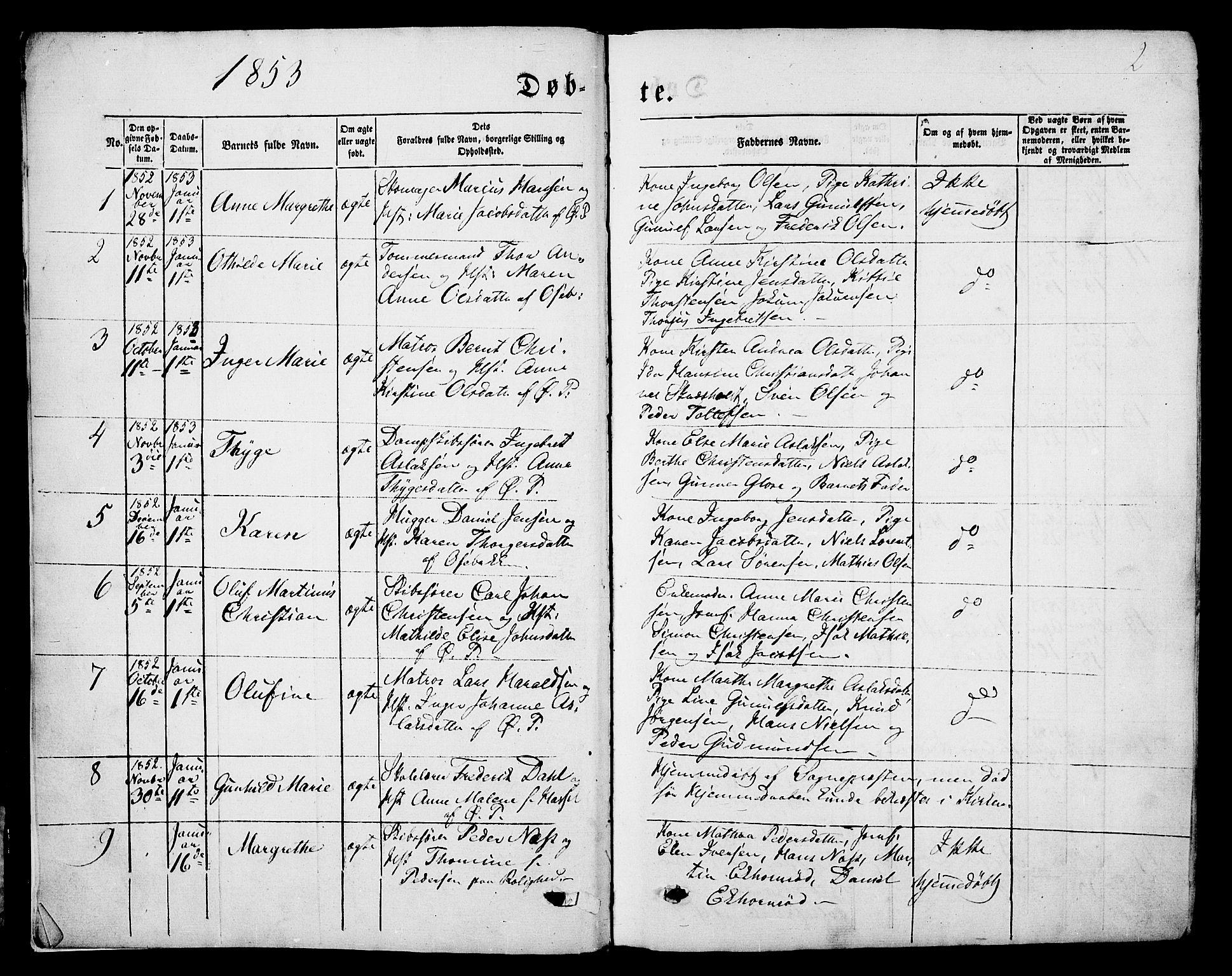 SAKO, Porsgrunn kirkebøker , G/Gb/L0004: Klokkerbok nr. II 4, 1853-1882, s. 2