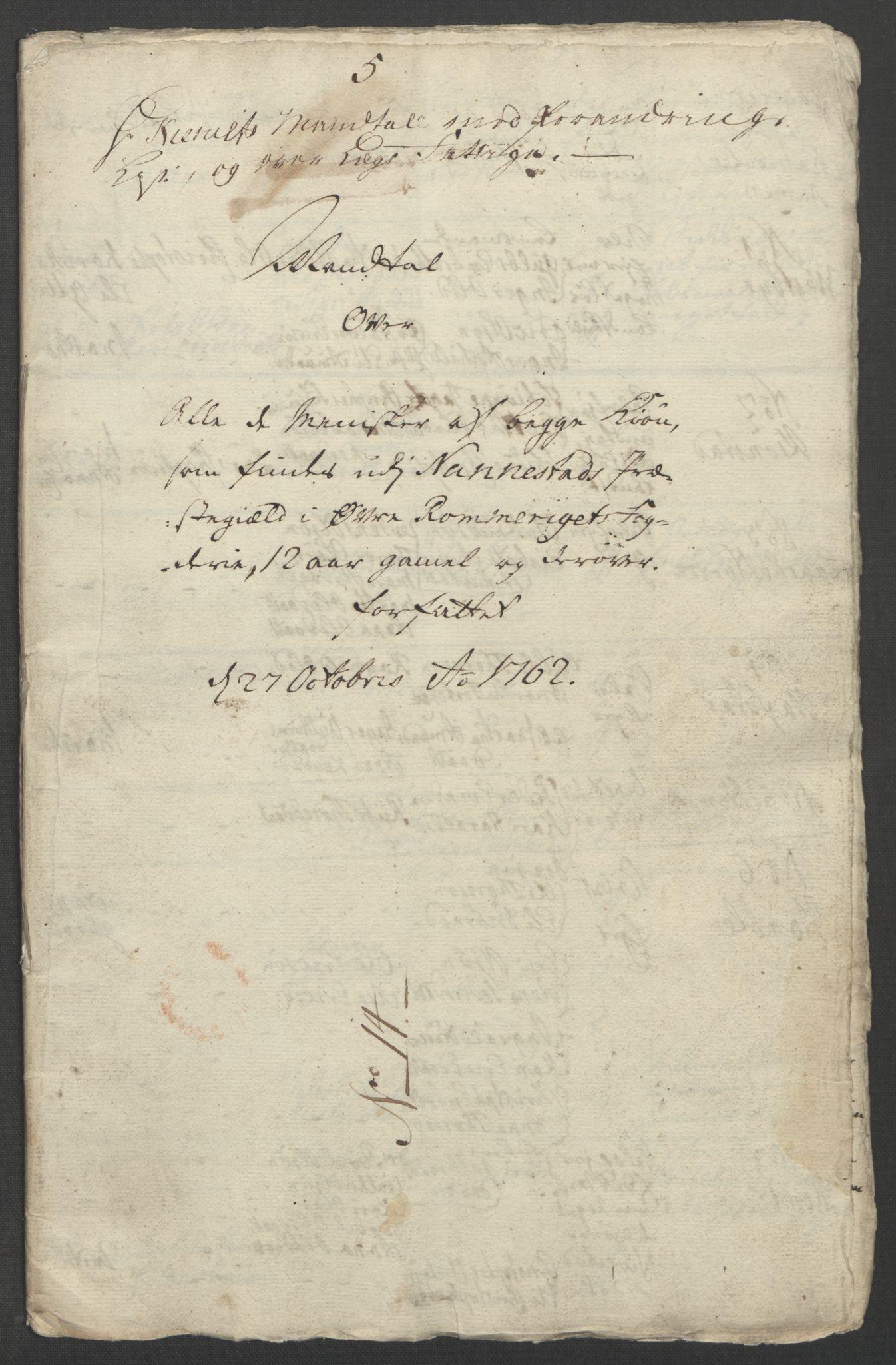 RA, Rentekammeret inntil 1814, Reviderte regnskaper, Fogderegnskap, R12/L0802: Ekstraskatten Øvre Romerike, 1762, s. 344