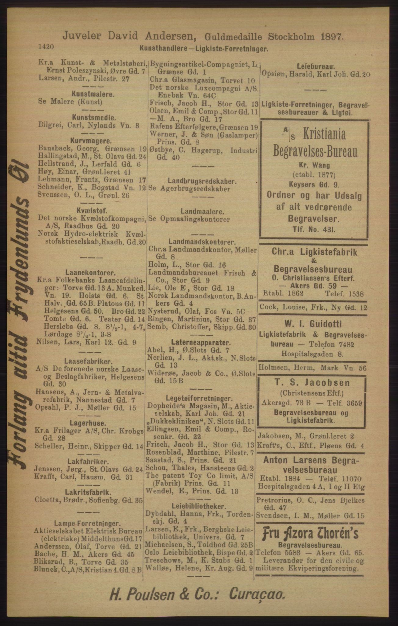 RA, Kristiania adressebok (publikasjon)*, 1906, s. 1420