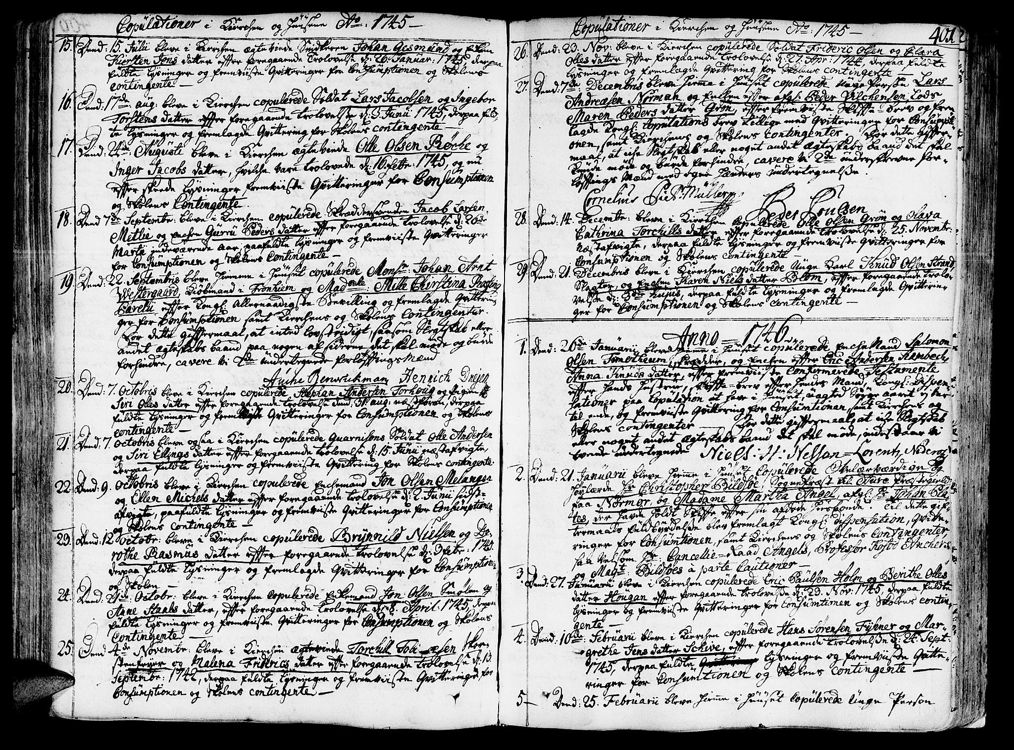 SAT, Ministerialprotokoller, klokkerbøker og fødselsregistre - Sør-Trøndelag, 602/L0103: Ministerialbok nr. 602A01, 1732-1774, s. 401