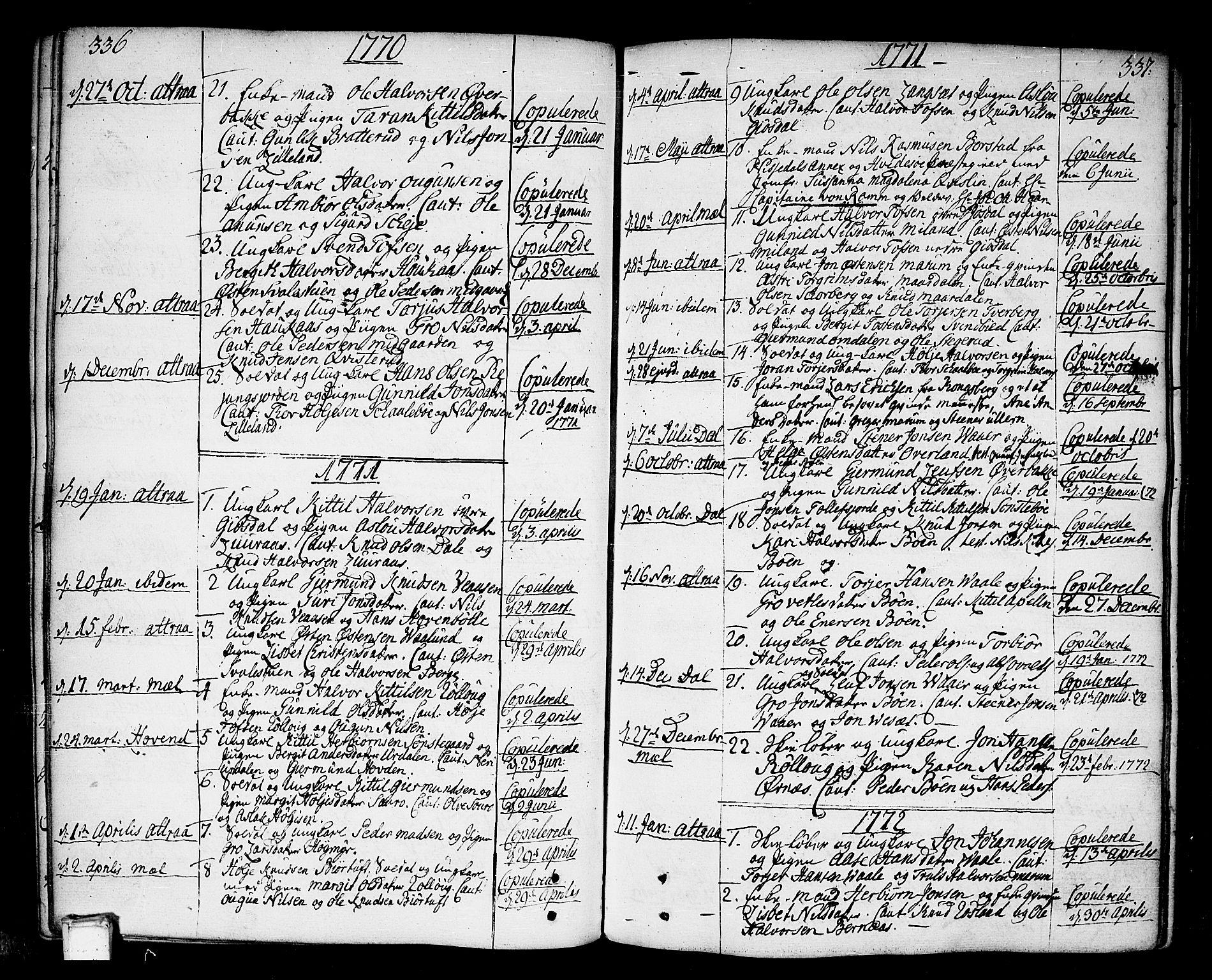 SAKO, Tinn kirkebøker, F/Fa/L0002: Ministerialbok nr. I 2, 1757-1810, s. 336-337