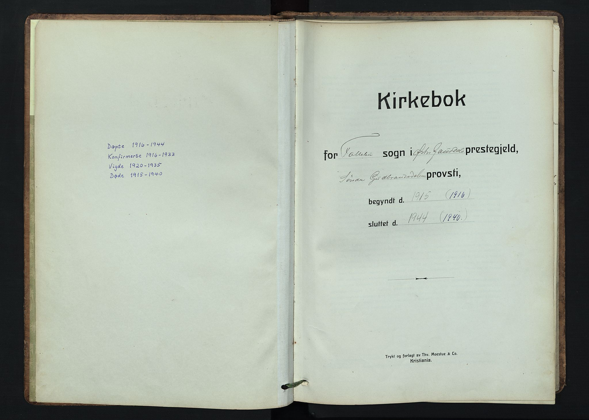 SAH, Østre Gausdal prestekontor, Klokkerbok nr. 5, 1915-1944
