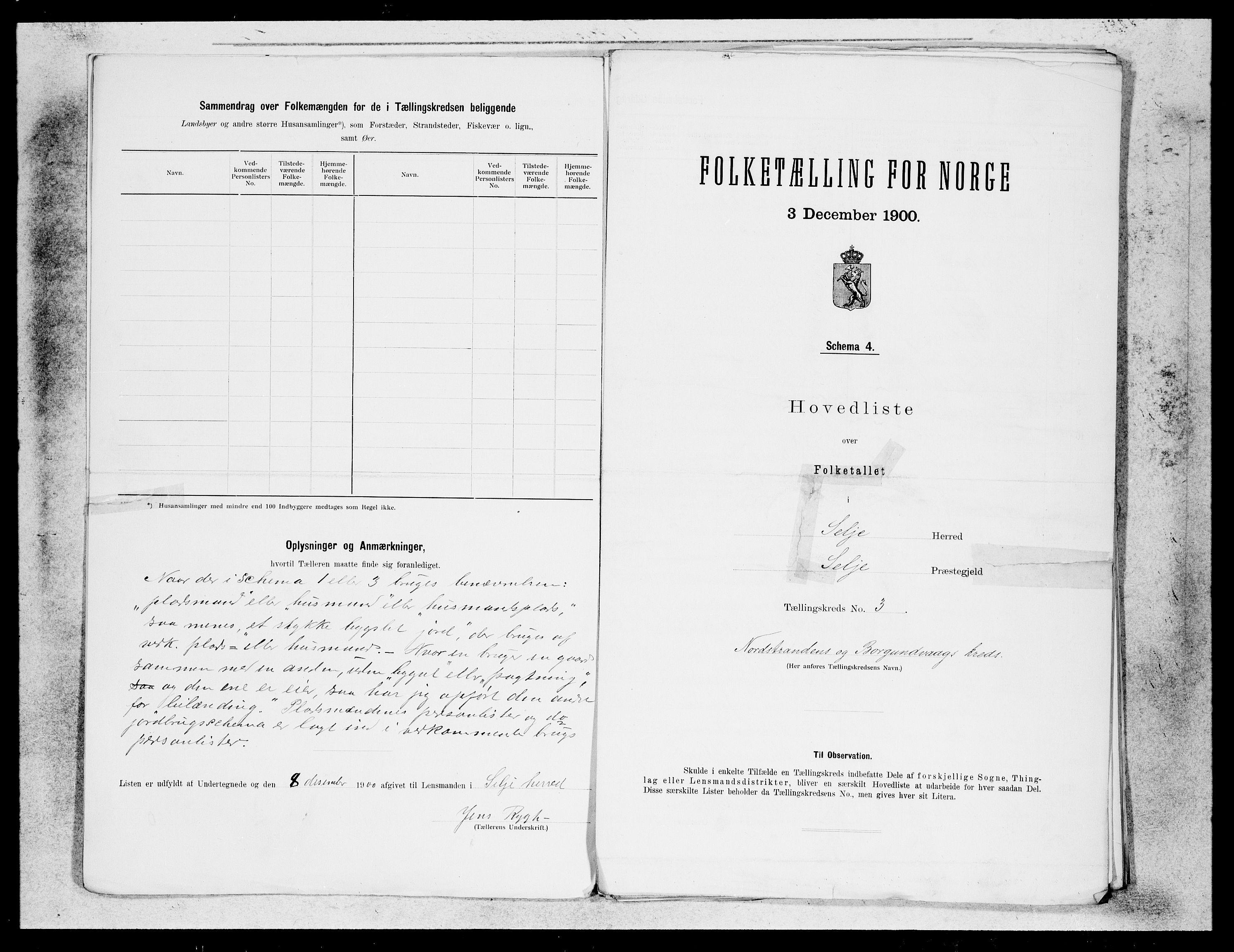 SAB, Folketelling 1900 for 1441 Selje herred, 1900, s. 5