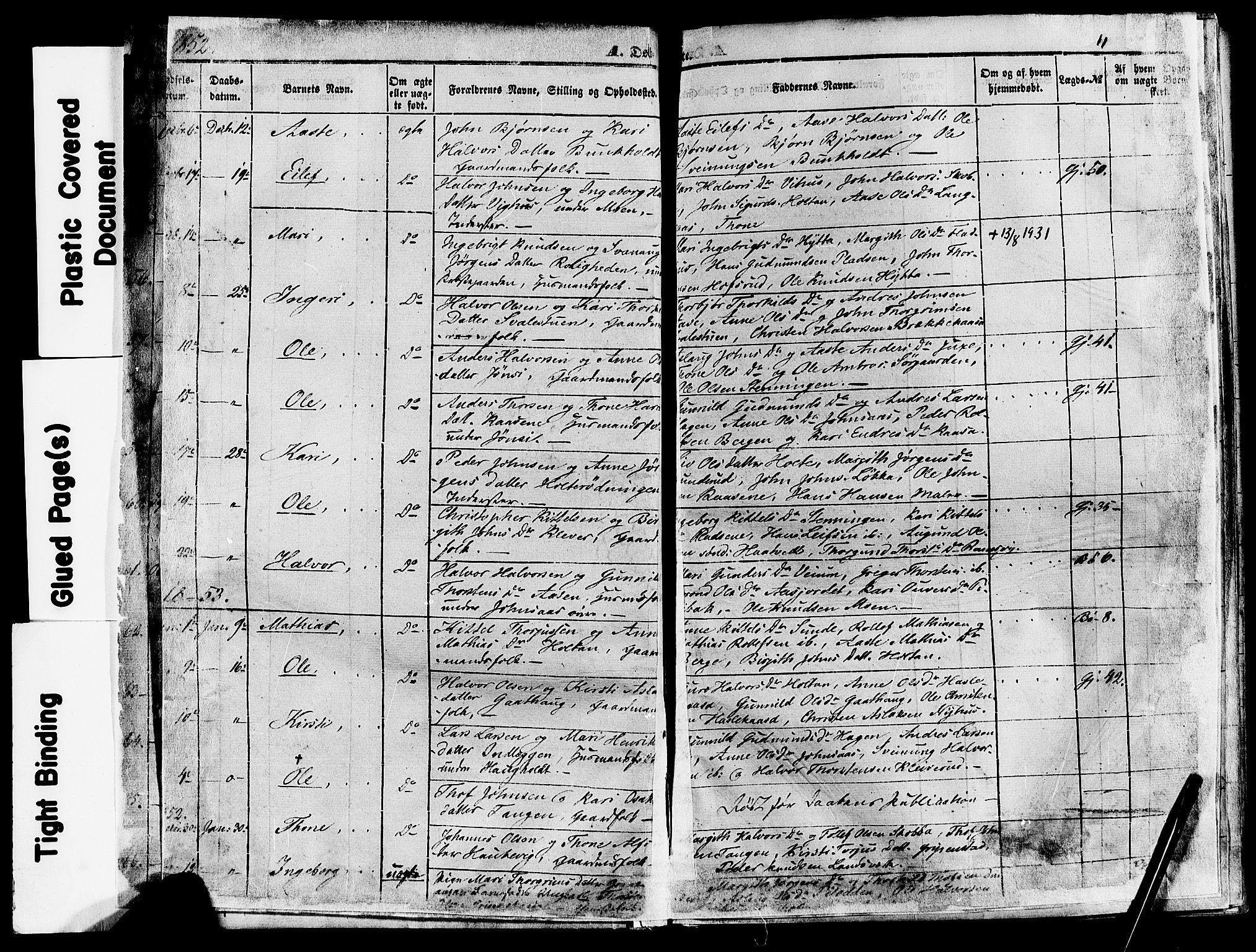 SAKO, Sauherad kirkebøker, F/Fa/L0007: Ministerialbok nr. I 7, 1851-1873, s. 11