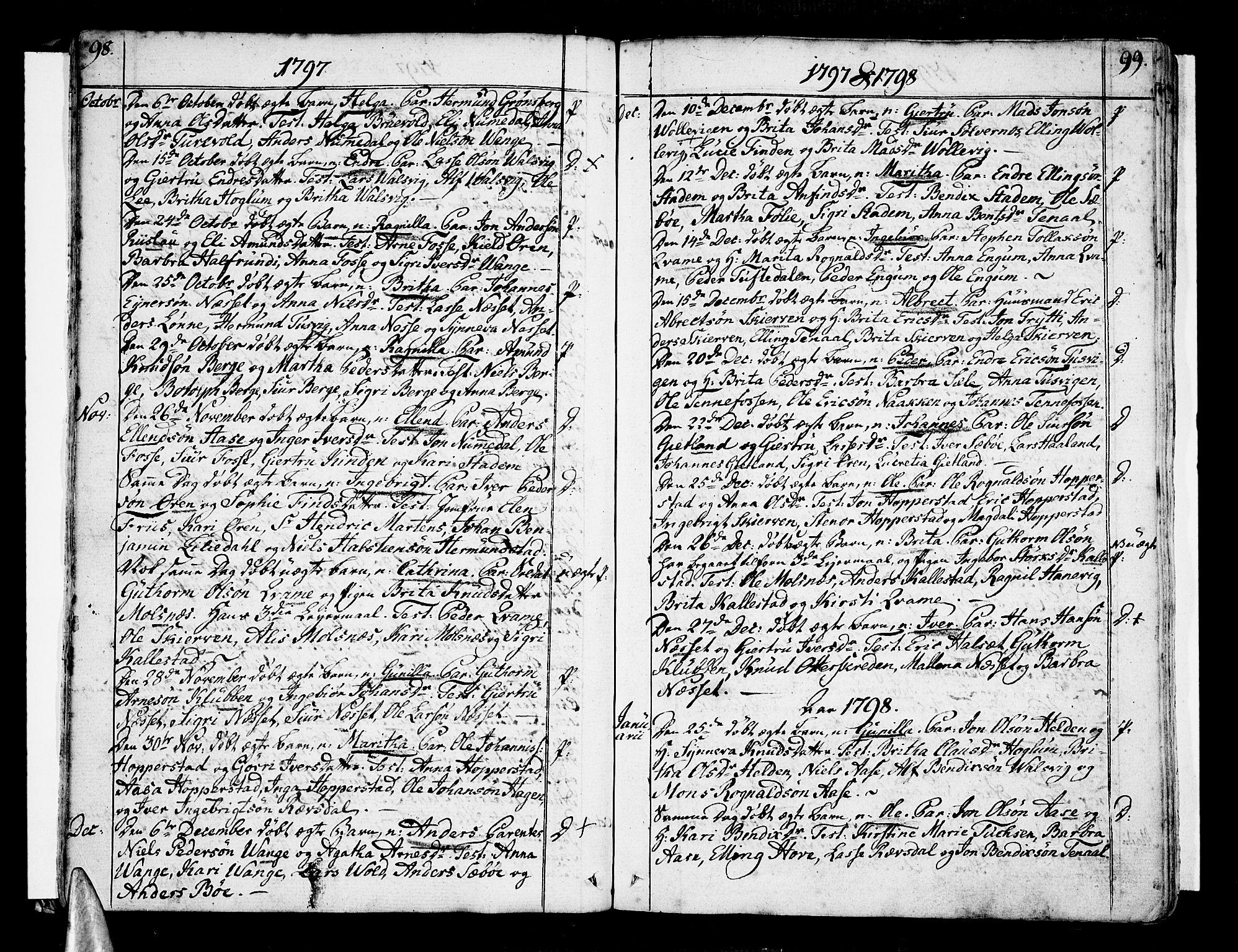 SAB, Vik Sokneprestembete, Ministerialbok nr. A 5, 1787-1820, s. 98-99