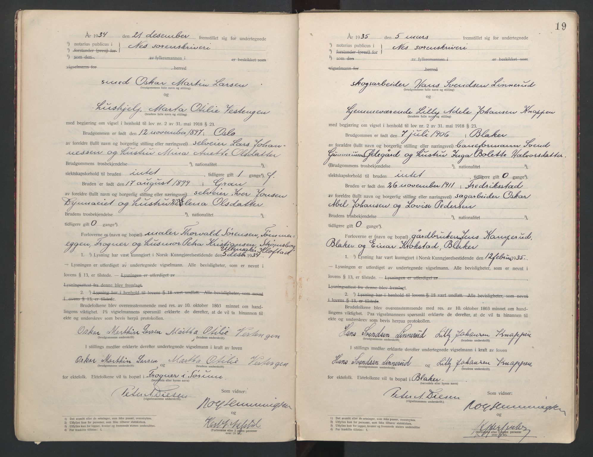 SAO, Nes tingrett, L/Lc/Lca/L0001: Vigselbok, 1920-1943, s. 19
