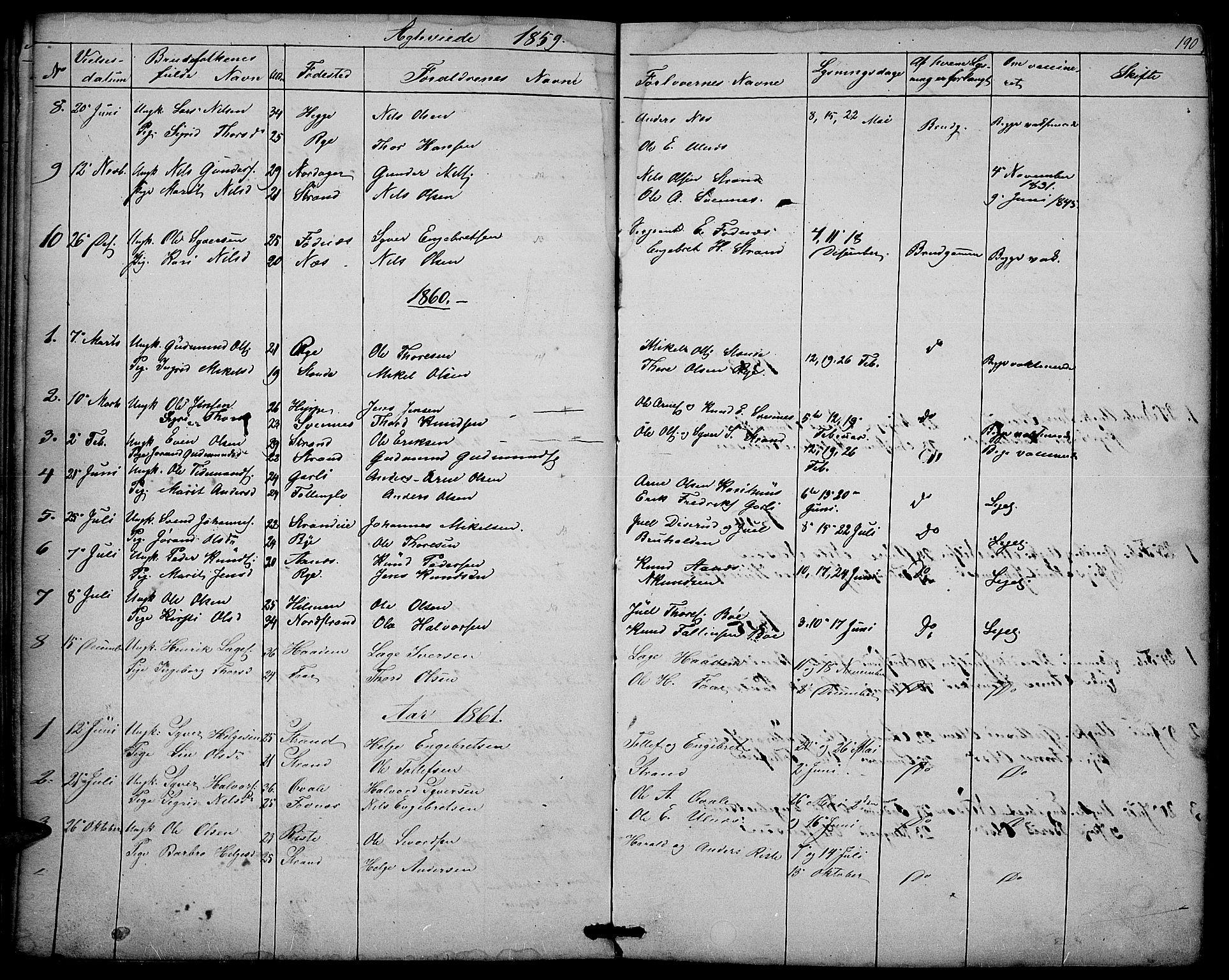 SAH, Nord-Aurdal prestekontor, Klokkerbok nr. 3, 1842-1882, s. 190