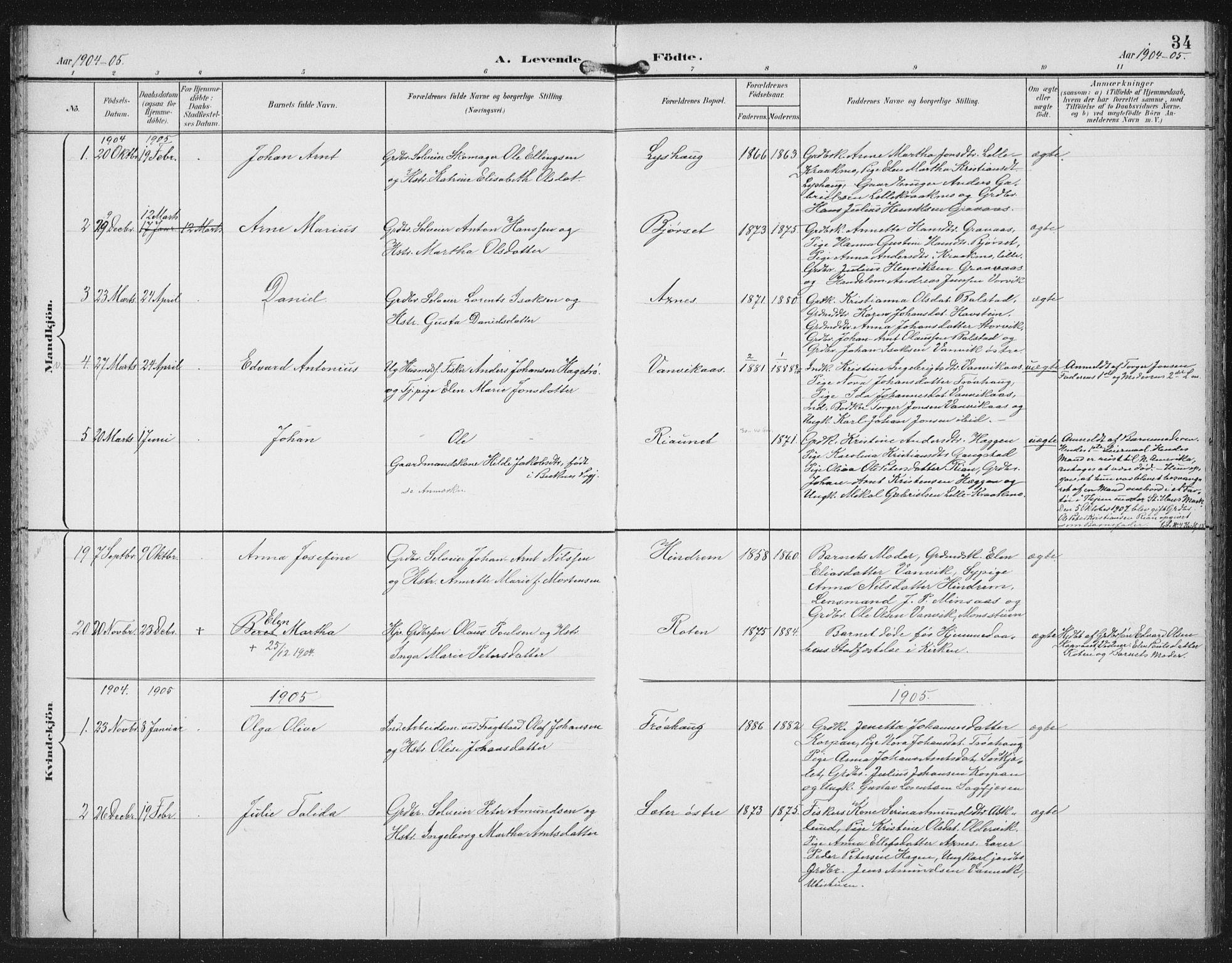 SAT, Ministerialprotokoller, klokkerbøker og fødselsregistre - Nord-Trøndelag, 702/L0024: Ministerialbok nr. 702A02, 1898-1914, s. 34