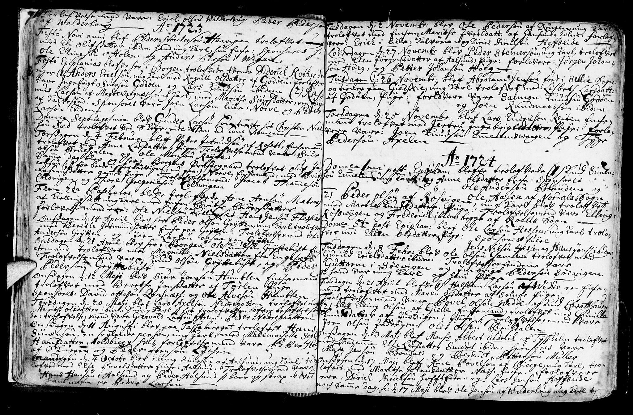 SAT, Ministerialprotokoller, klokkerbøker og fødselsregistre - Møre og Romsdal, 528/L0390: Ministerialbok nr. 528A01, 1698-1739, s. 44-45
