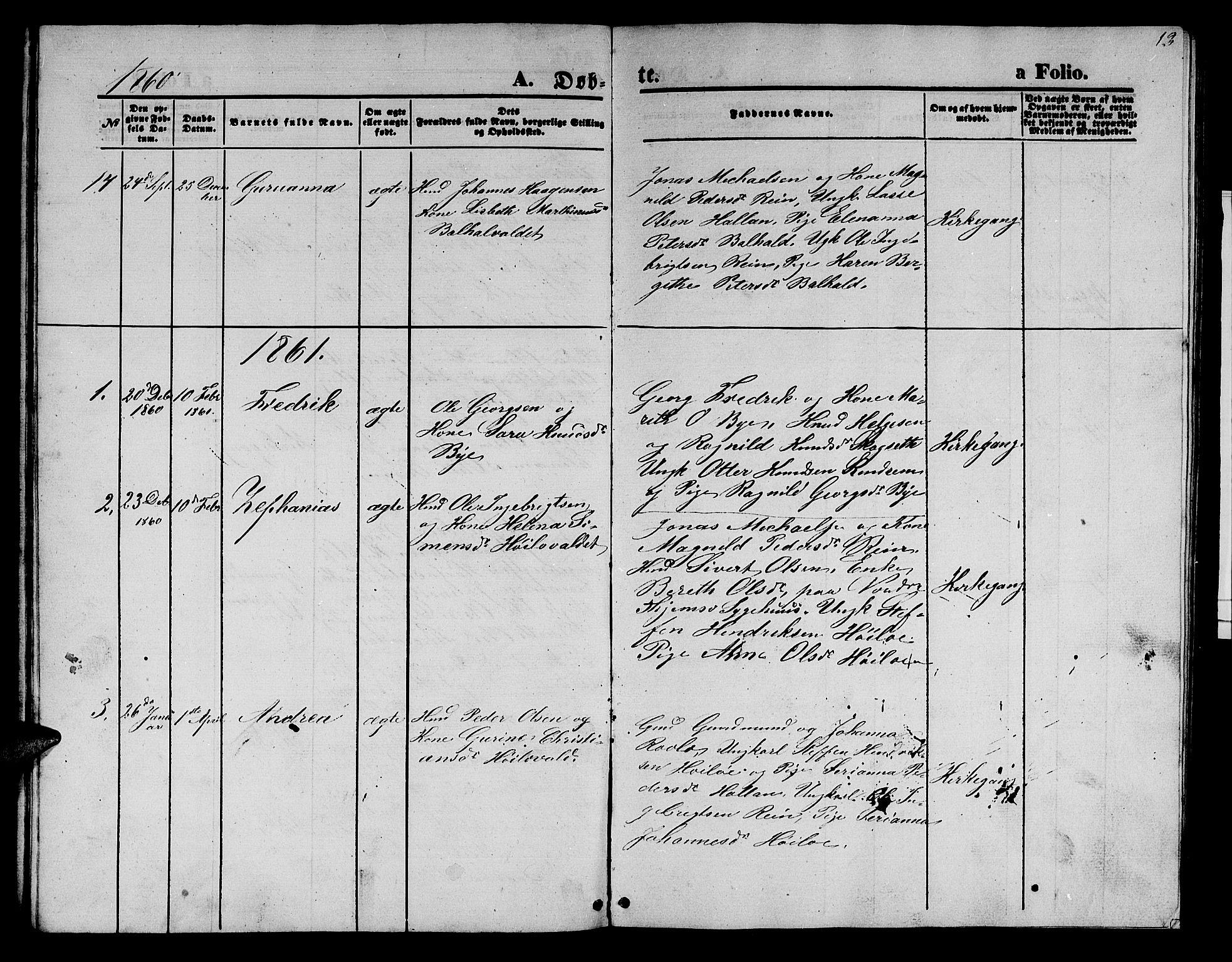 SAT, Ministerialprotokoller, klokkerbøker og fødselsregistre - Nord-Trøndelag, 726/L0270: Klokkerbok nr. 726C01, 1858-1868, s. 13
