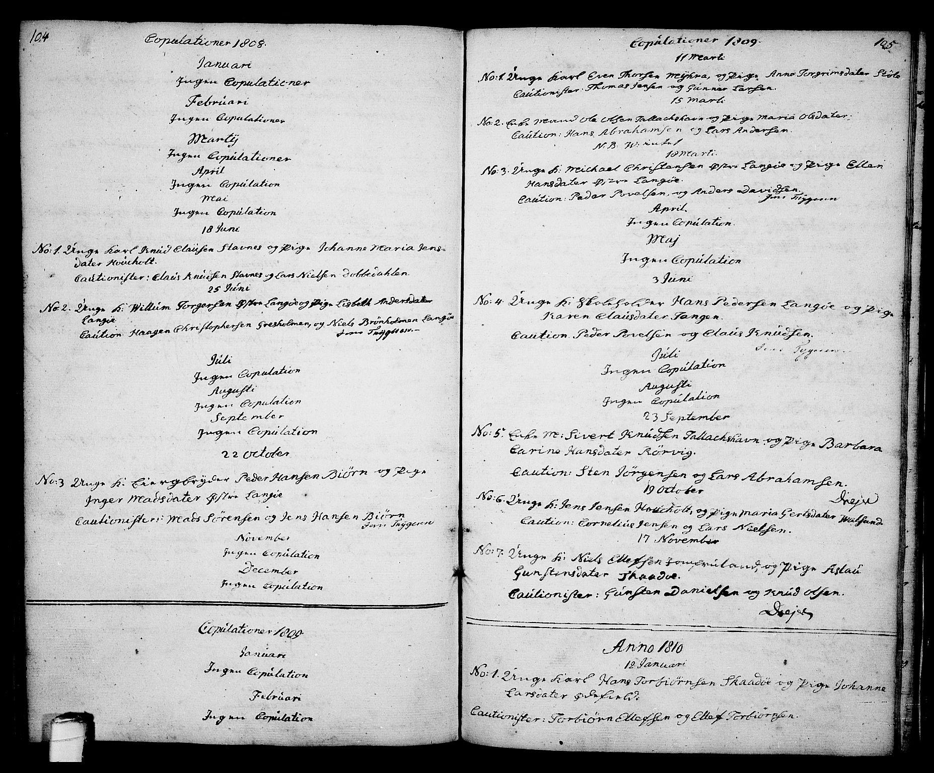 SAKO, Kragerø kirkebøker, G/Ga/L0001: Klokkerbok nr. 1 /2, 1806-1811, s. 104-105