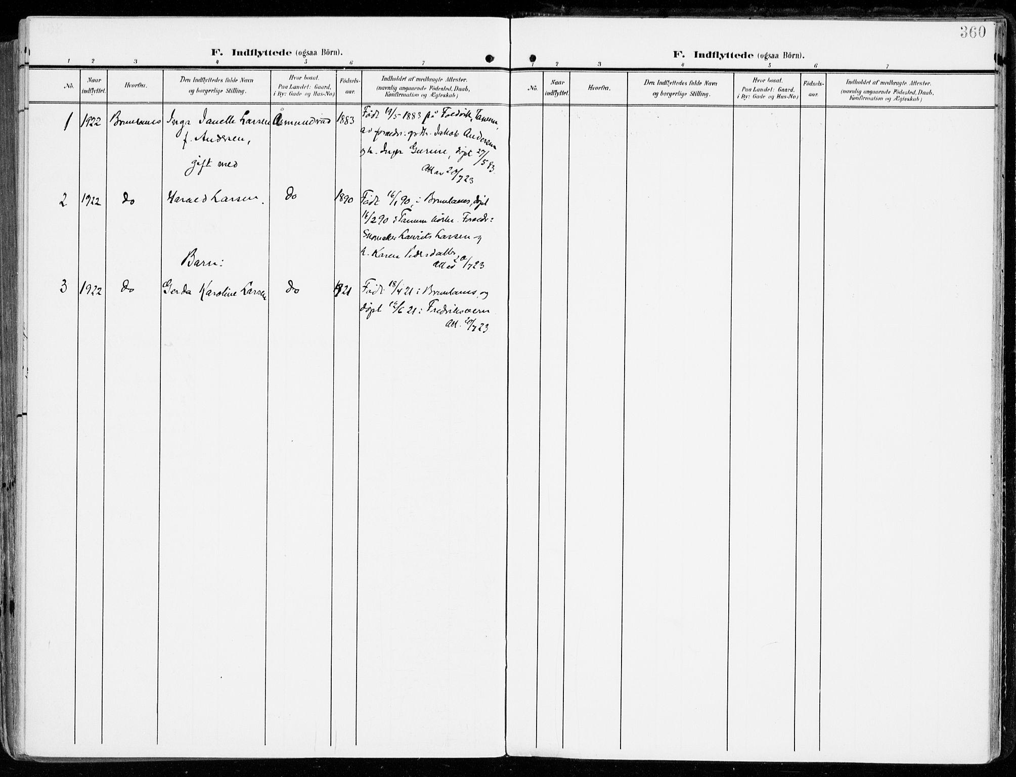 SAKO, Tjølling kirkebøker, F/Fa/L0010: Ministerialbok nr. 10, 1906-1923, s. 360
