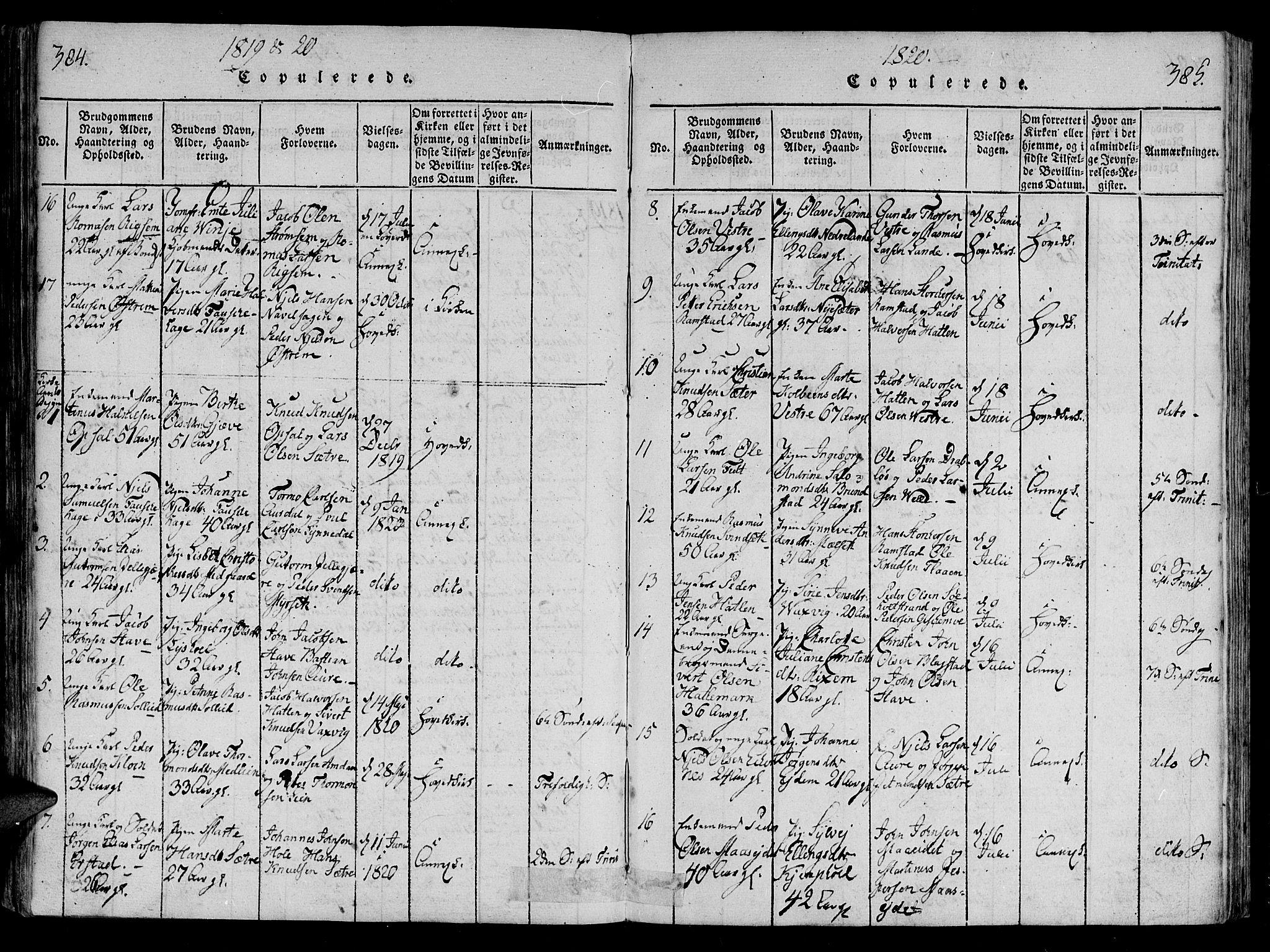 SAT, Ministerialprotokoller, klokkerbøker og fødselsregistre - Møre og Romsdal, 522/L0310: Ministerialbok nr. 522A05, 1816-1832, s. 384-385