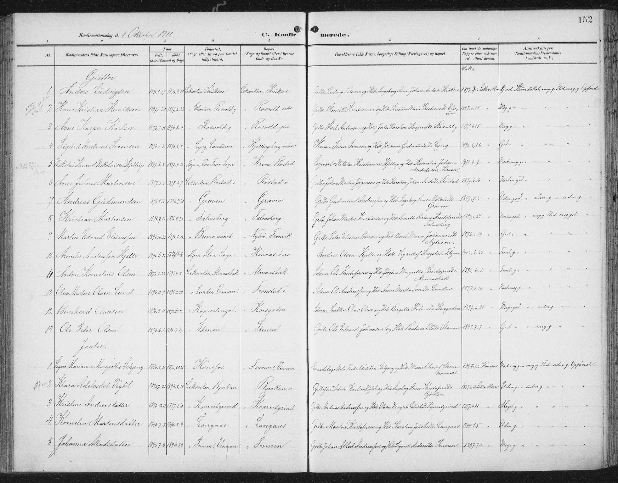 SAT, Ministerialprotokoller, klokkerbøker og fødselsregistre - Nord-Trøndelag, 701/L0011: Ministerialbok nr. 701A11, 1899-1915, s. 152