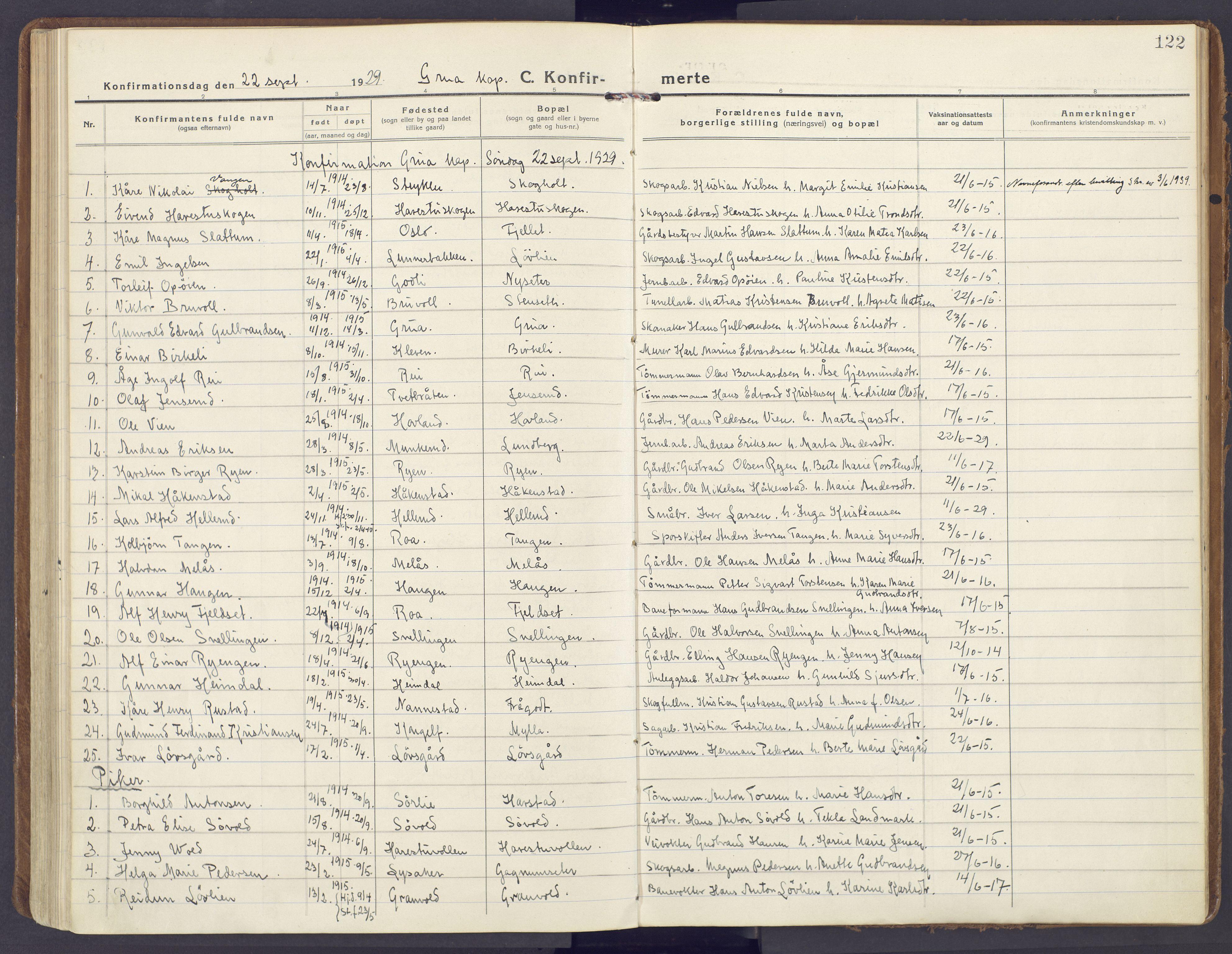 SAH, Lunner prestekontor, H/Ha/Haa/L0002: Ministerialbok nr. 2, 1922-1931, s. 122