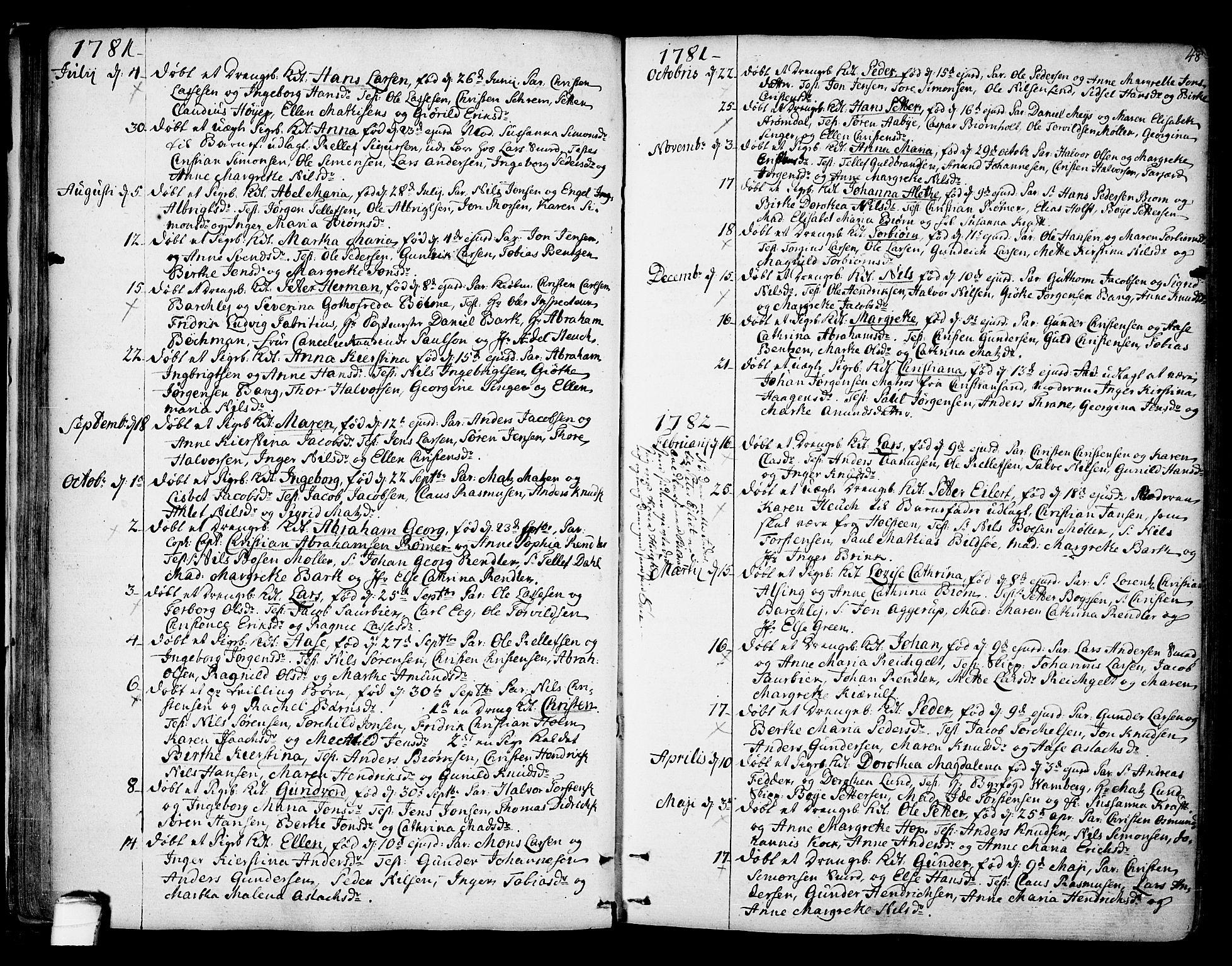 SAKO, Kragerø kirkebøker, F/Fa/L0002: Ministerialbok nr. 2, 1767-1802, s. 48