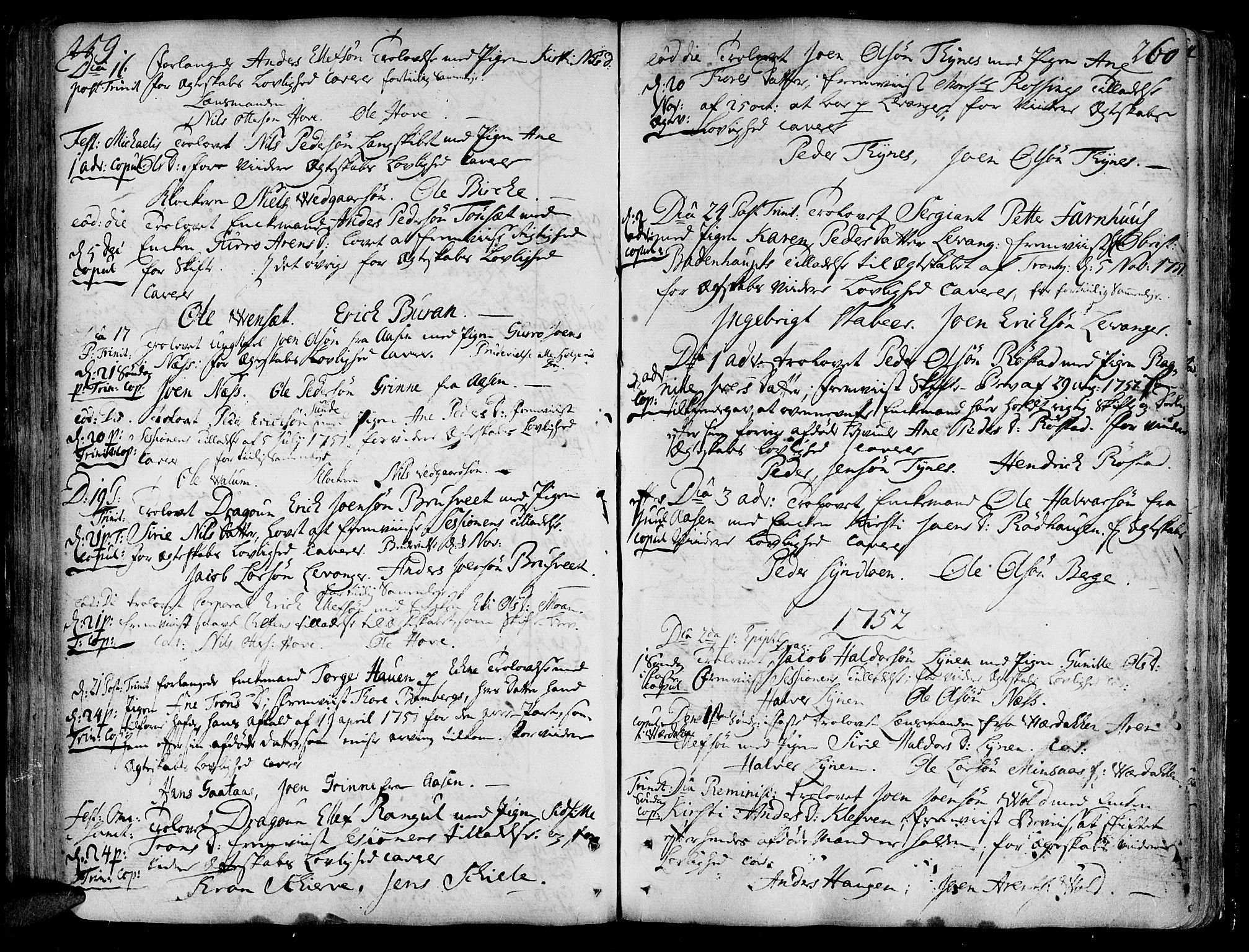 SAT, Ministerialprotokoller, klokkerbøker og fødselsregistre - Nord-Trøndelag, 717/L0141: Ministerialbok nr. 717A01, 1747-1803, s. 259-260