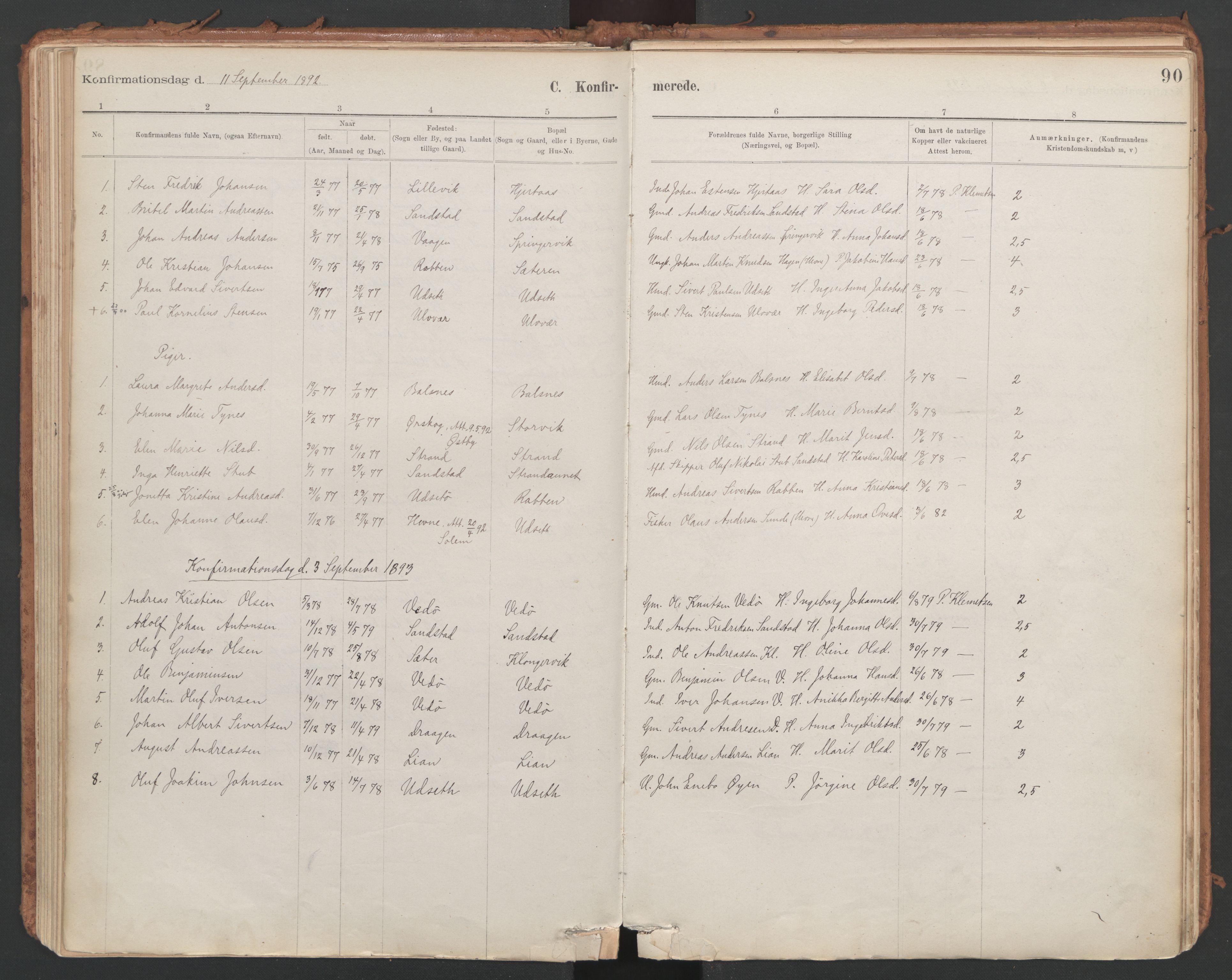 SAT, Ministerialprotokoller, klokkerbøker og fødselsregistre - Sør-Trøndelag, 639/L0572: Ministerialbok nr. 639A01, 1890-1920, s. 90