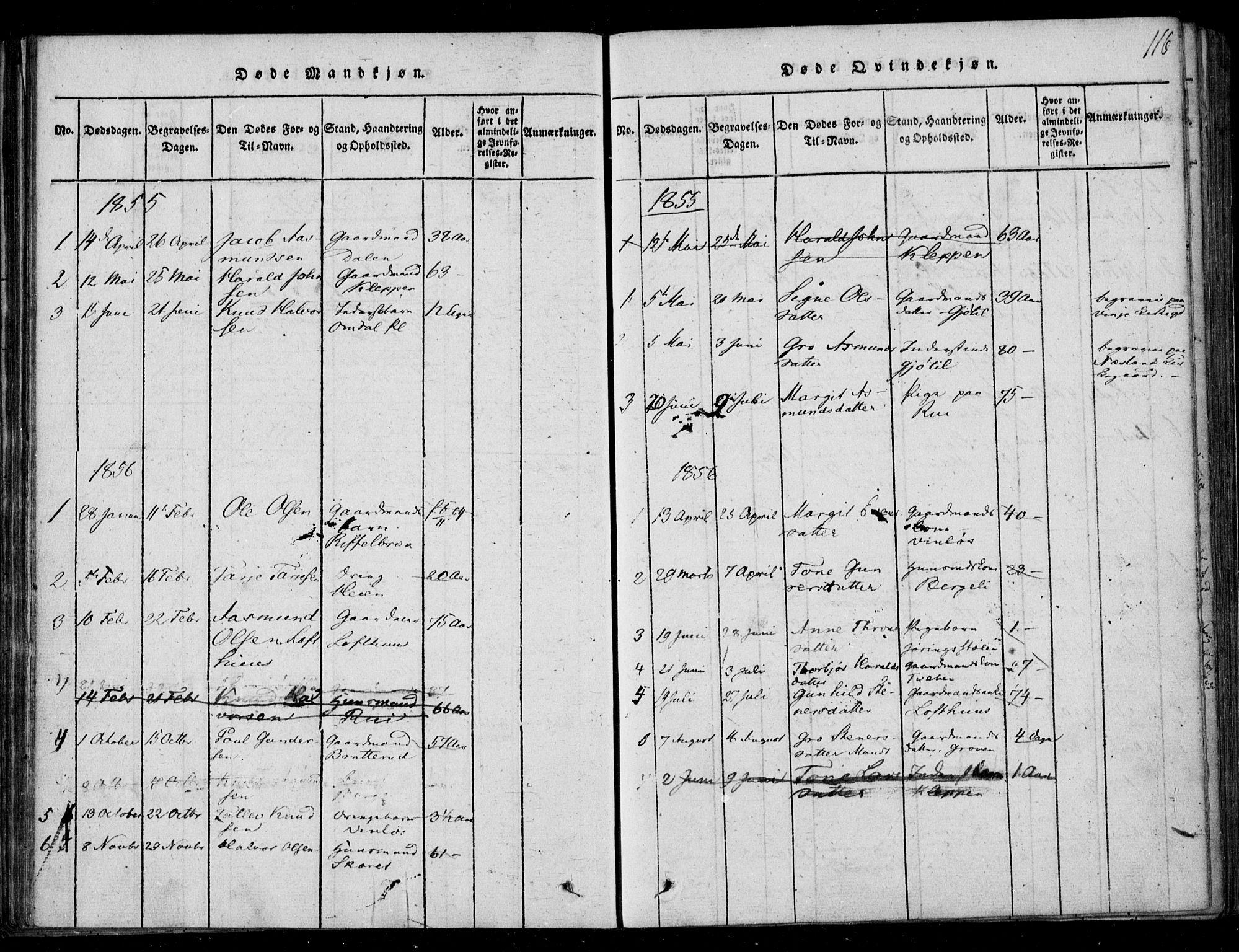 SAKO, Lårdal kirkebøker, F/Fb/L0001: Ministerialbok nr. II 1, 1815-1860, s. 116