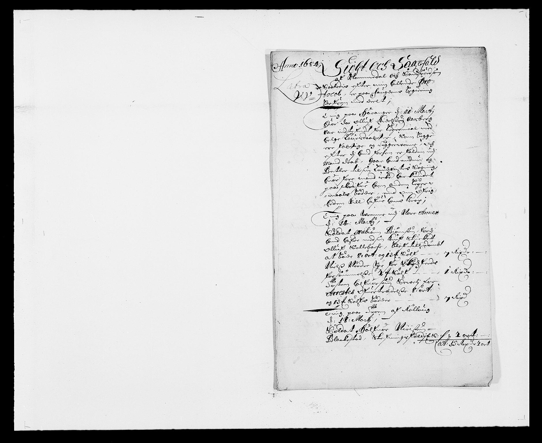 RA, Rentekammeret inntil 1814, Reviderte regnskaper, Fogderegnskap, R24/L1571: Fogderegnskap Numedal og Sandsvær, 1679-1686, s. 19
