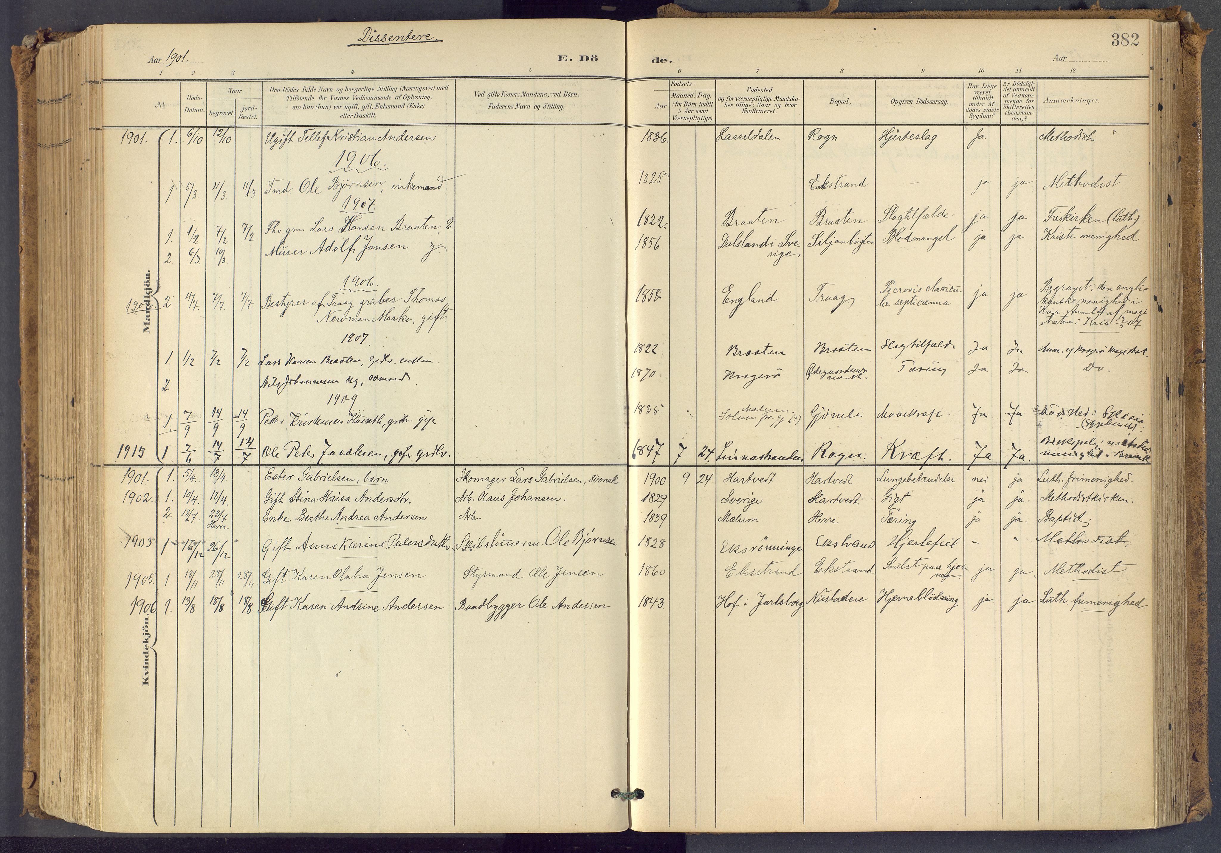 SAKO, Bamble kirkebøker, F/Fa/L0009: Ministerialbok nr. I 9, 1901-1917, s. 382