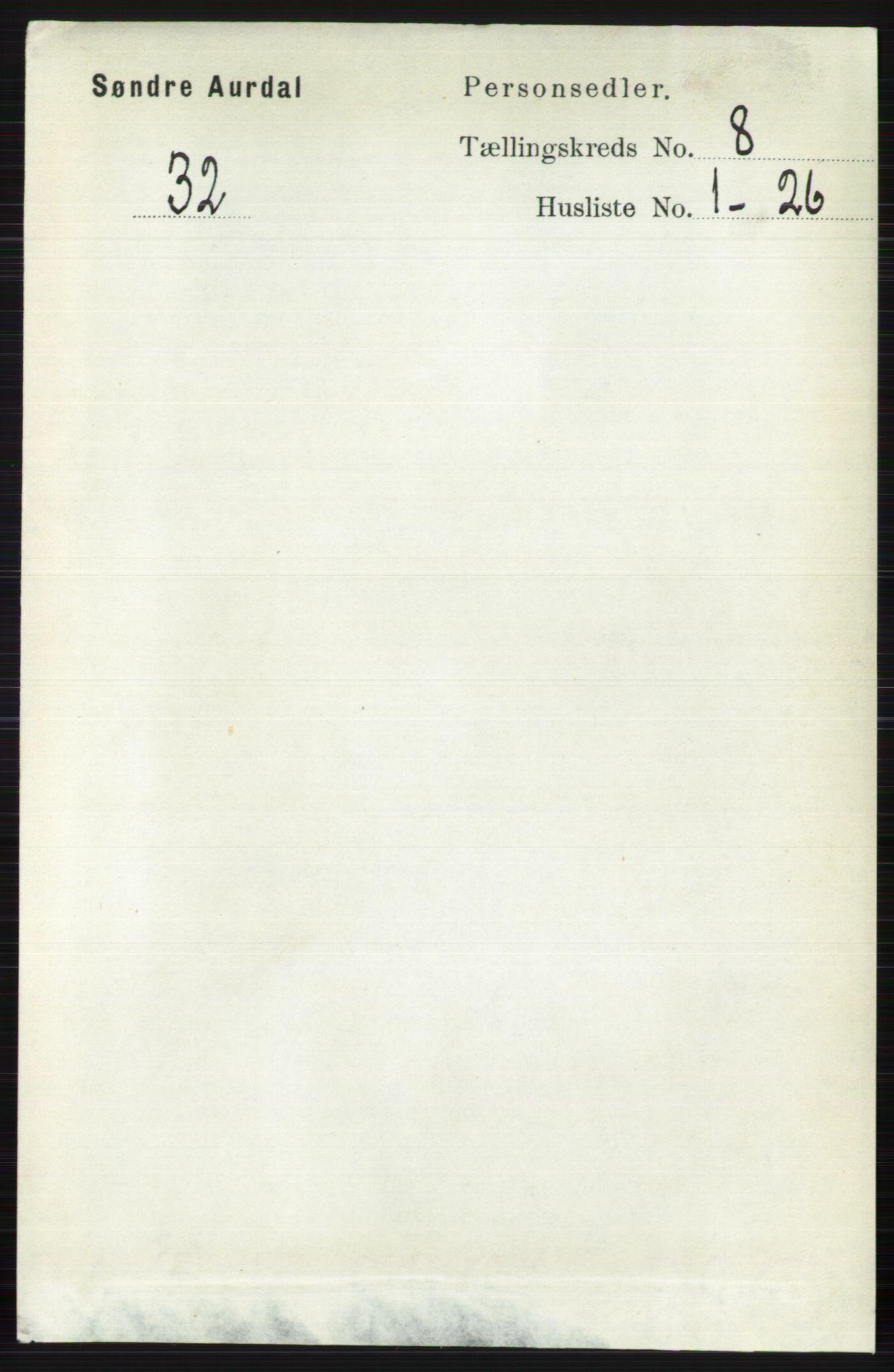 RA, Folketelling 1891 for 0540 Sør-Aurdal herred, 1891, s. 4858
