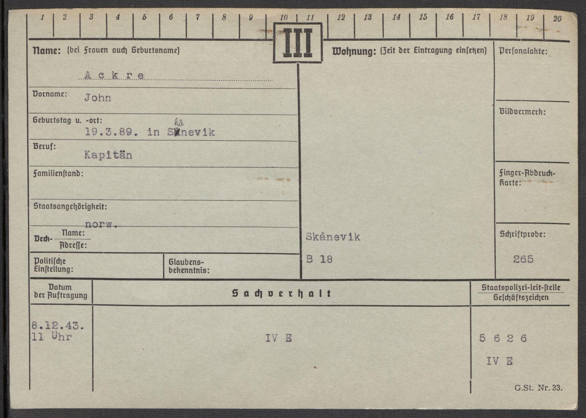 RA, Befehlshaber der Sicherheitspolizei und des SD, E/Ea/Eaa/L0001: Register over norske fanger i Møllergata 19: A-Bj, 1940-1945, s. 28